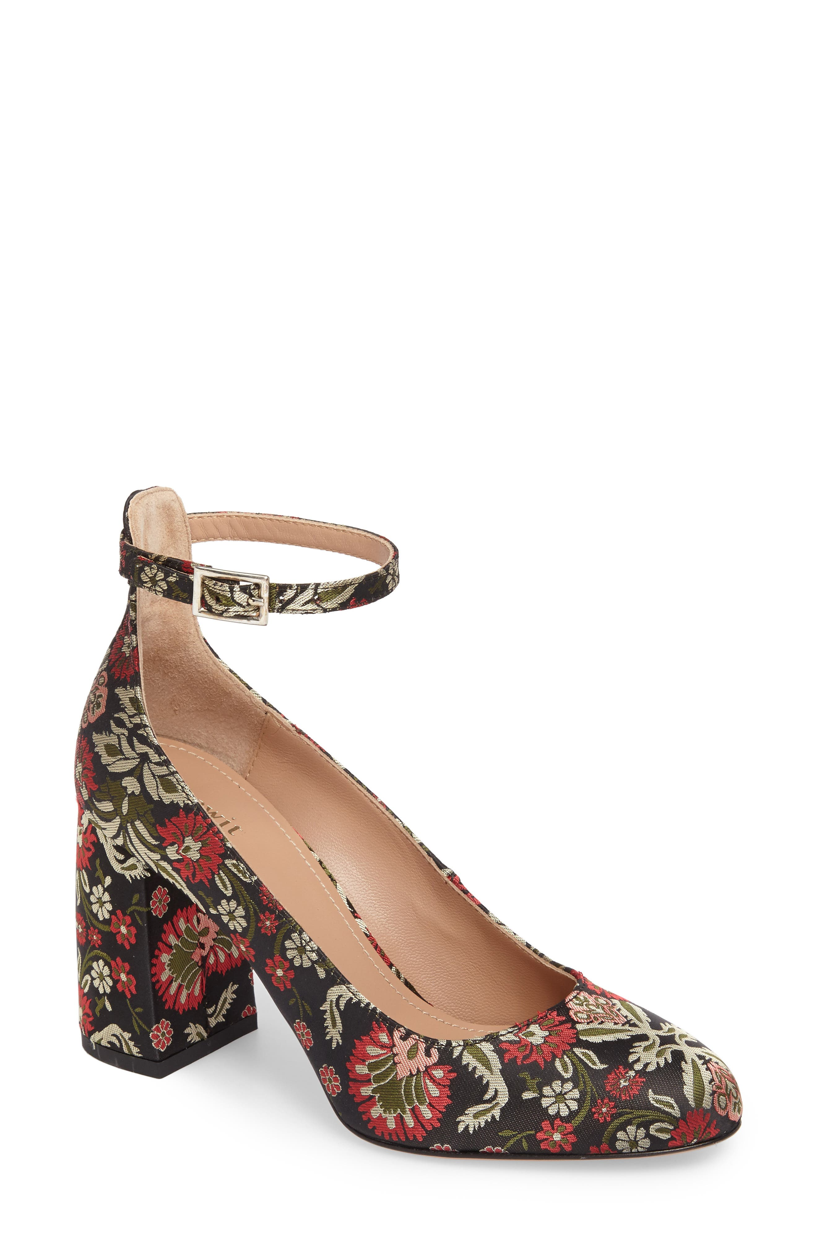 Emilia Ankle Strap Pump,                             Main thumbnail 1, color,                             Red/ Green Fabric