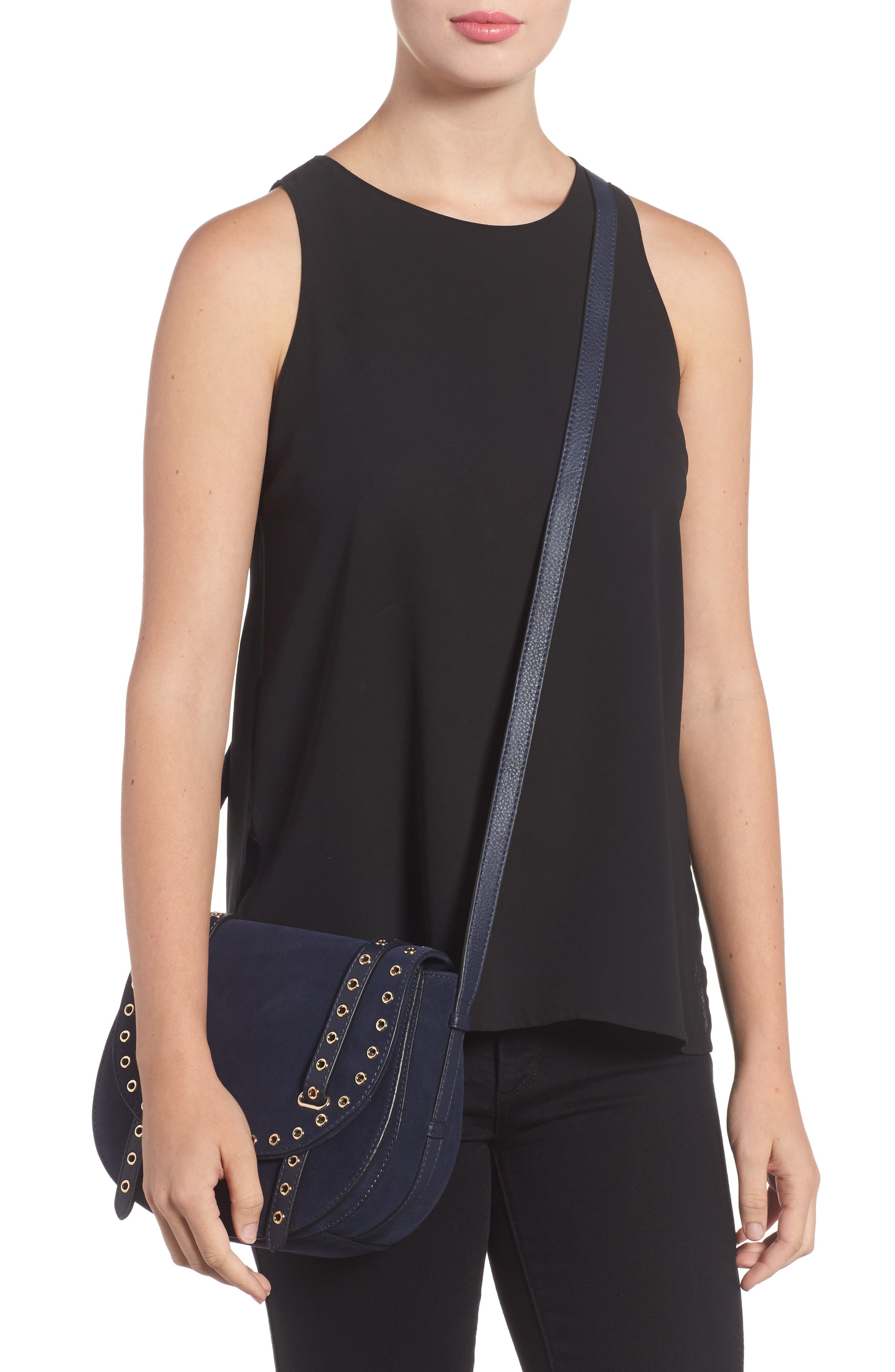Areli Suede & Leather Crossbody Saddle Bag,                             Alternate thumbnail 2, color,                             Winter Navy