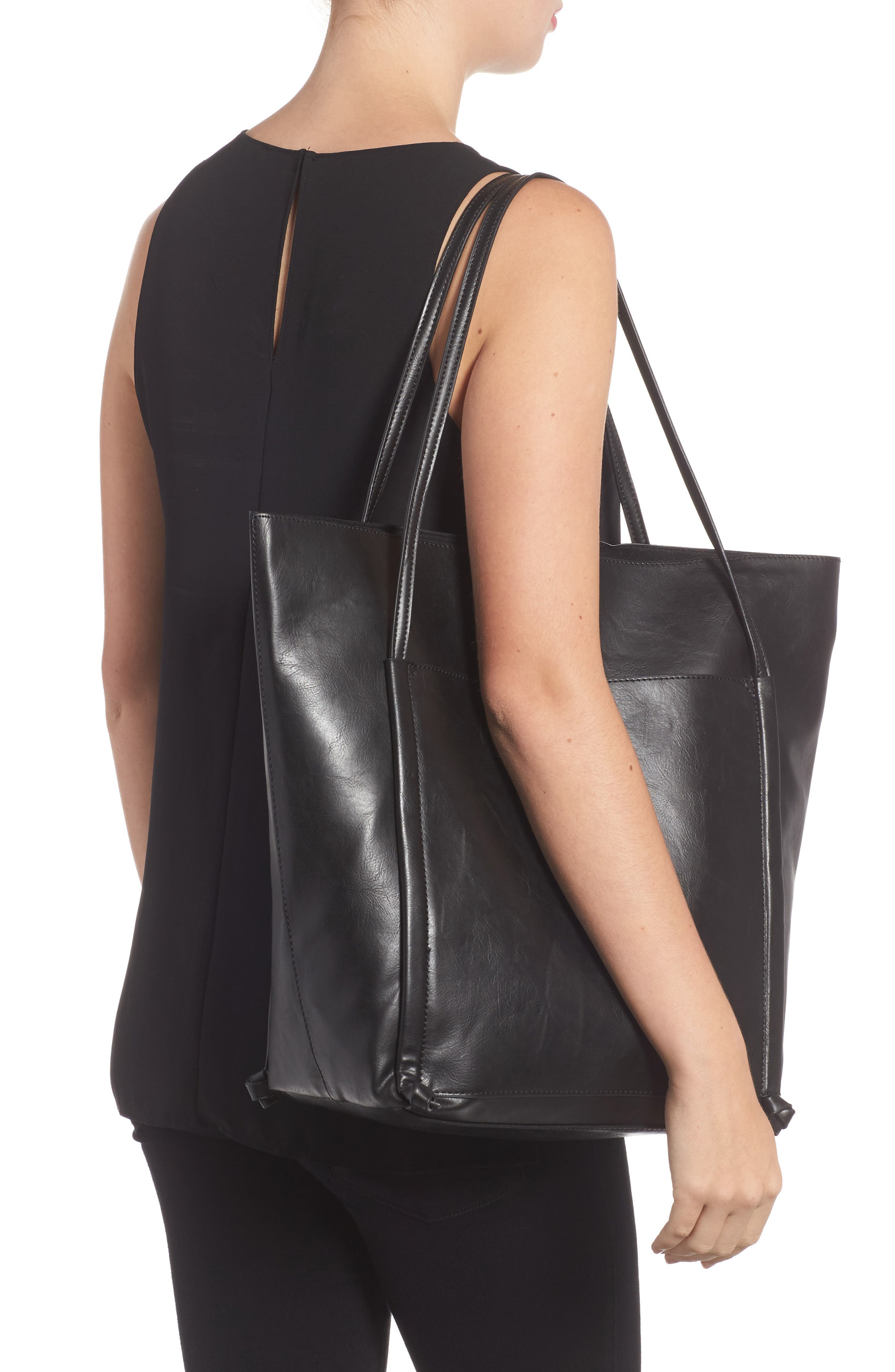 Harley Faux Leather Tote,                             Alternate thumbnail 2, color,                             Black