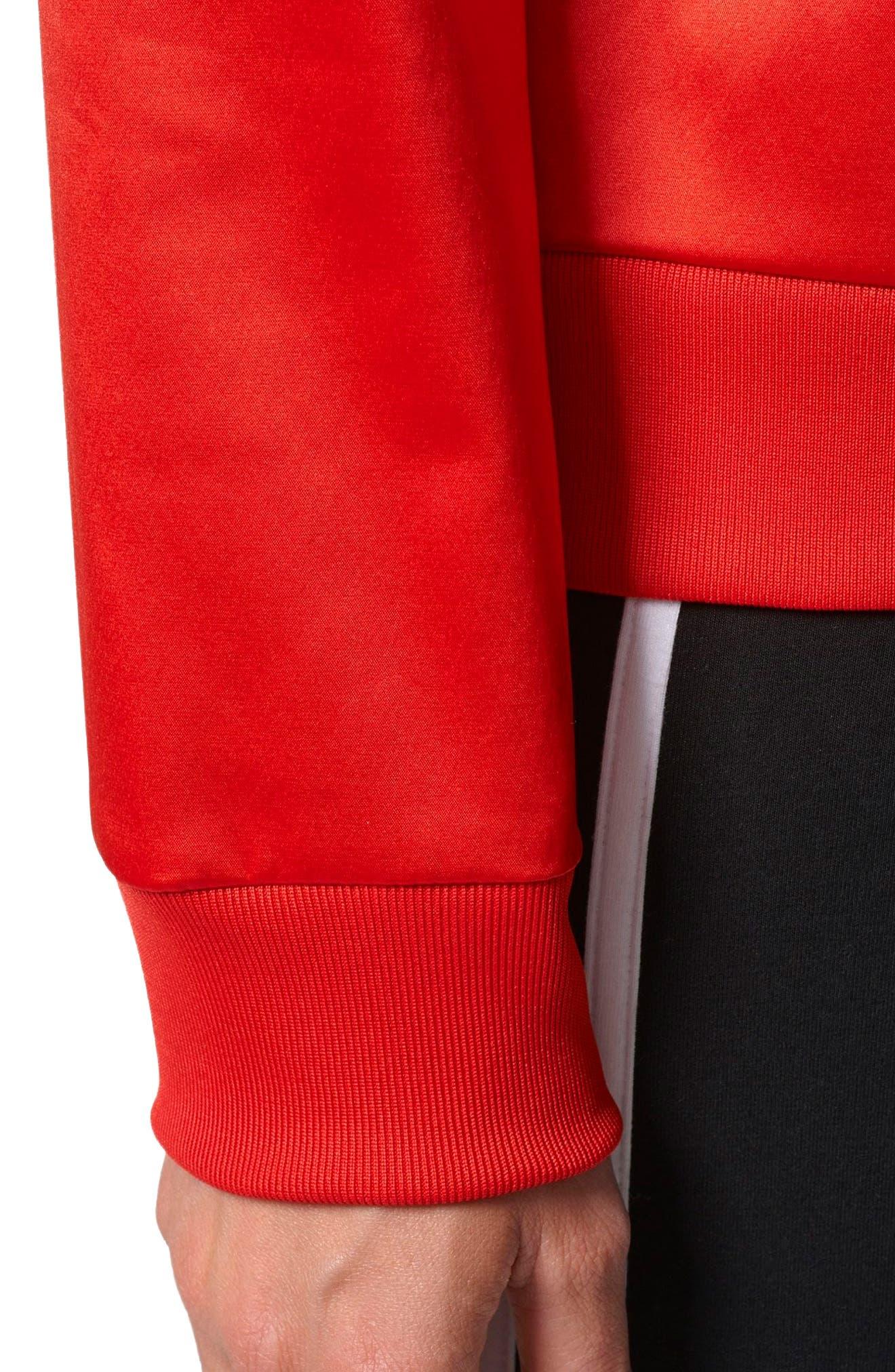 Trefoil Crewneck Sweater,                             Alternate thumbnail 4, color,                             Vivid Red S13