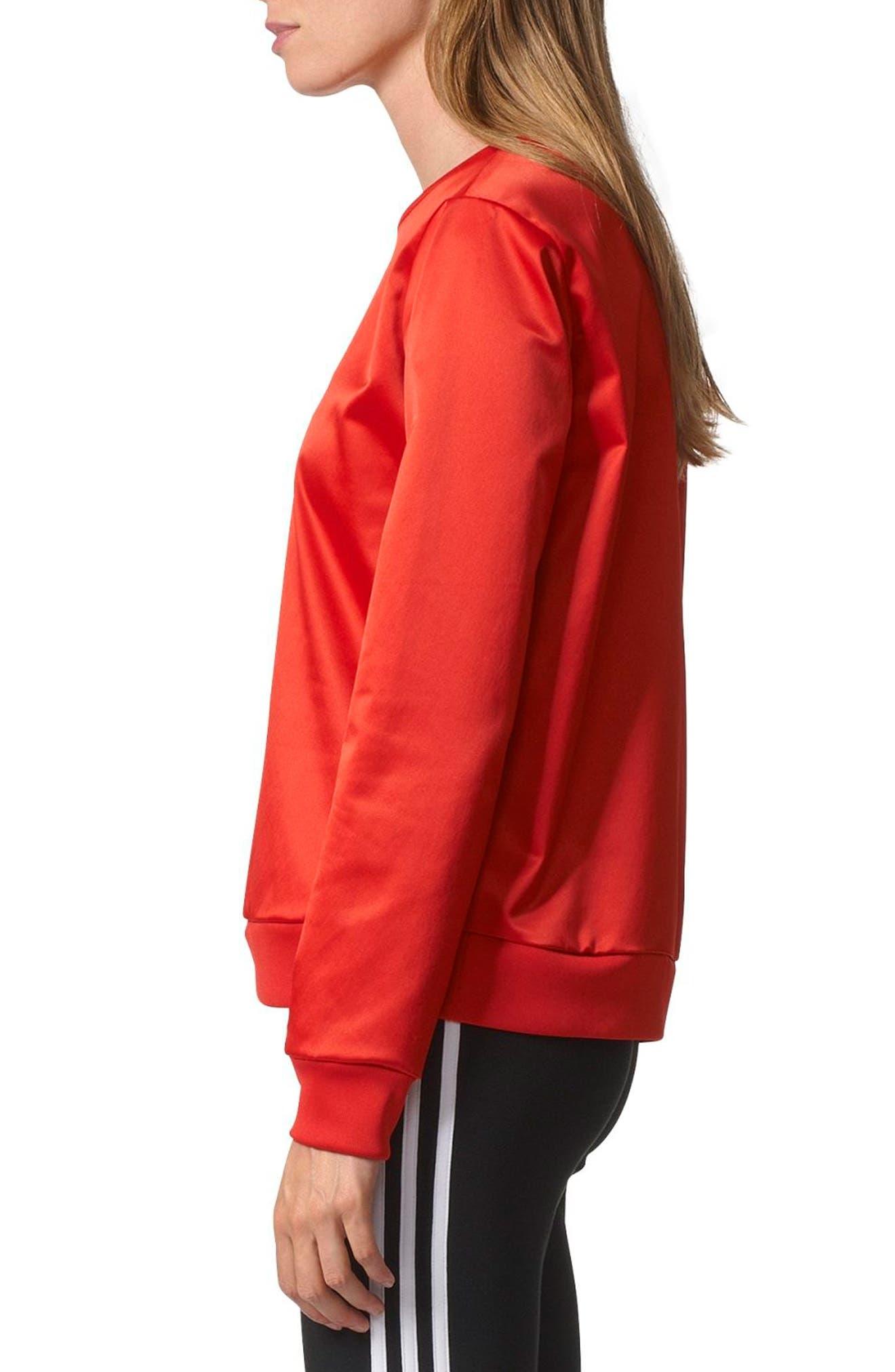 Trefoil Crewneck Sweater,                             Alternate thumbnail 3, color,                             Vivid Red S13