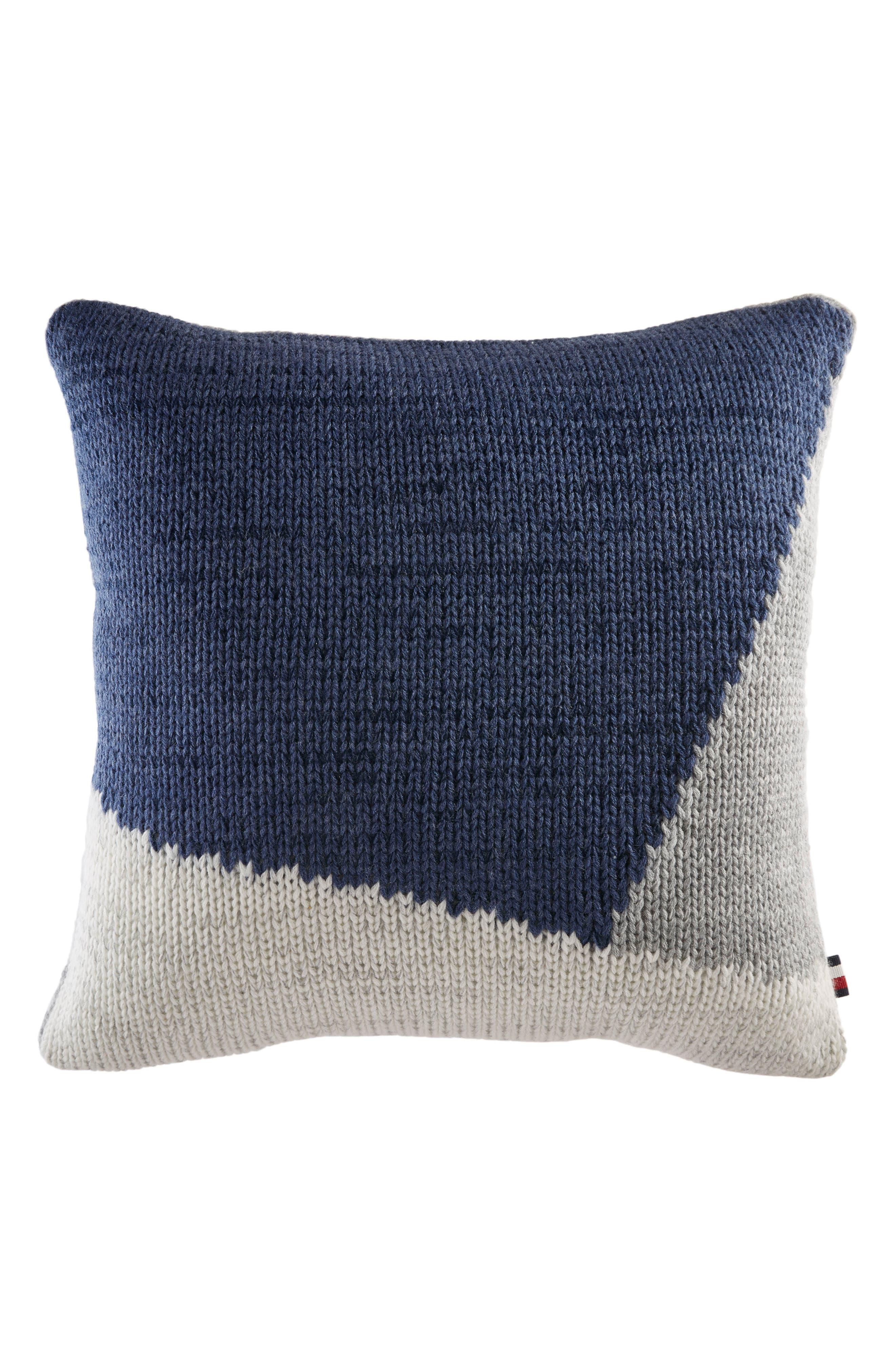 Colorblock Knit Accent Pillow,                             Main thumbnail 1, color,                             Blue/ Grey Multi