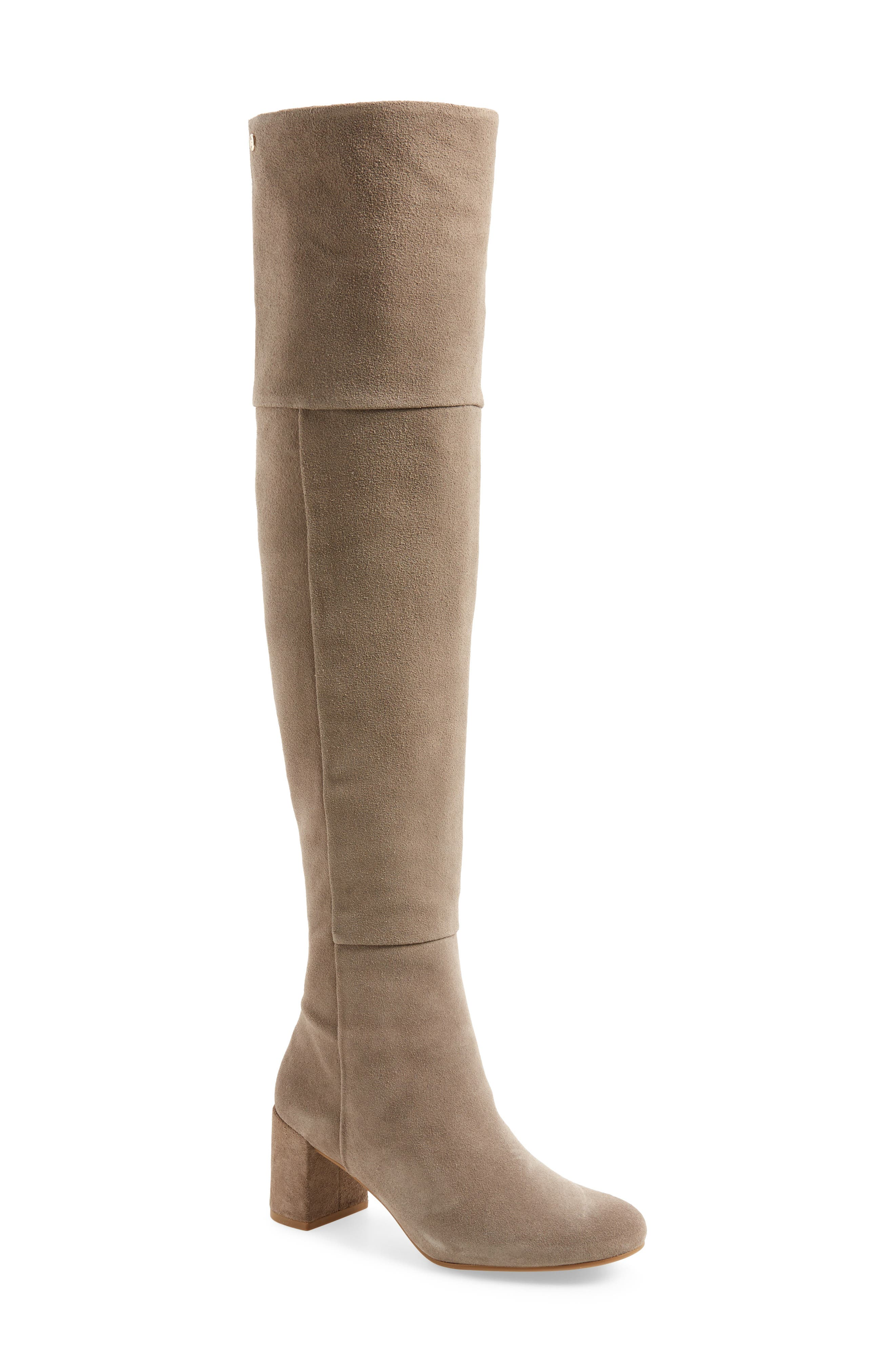Catherine Over the Knee Boot,                             Main thumbnail 1, color,                             Grey Suede