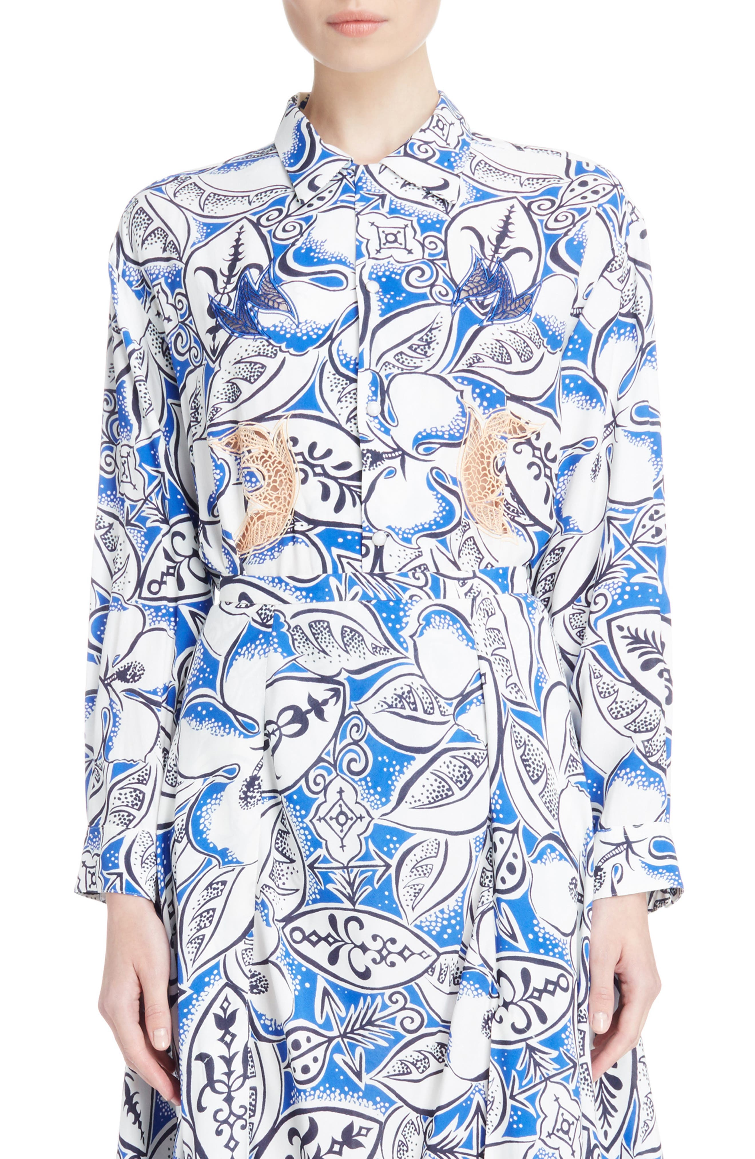 Leaf Print Blouse,                         Main,                         color, Blue