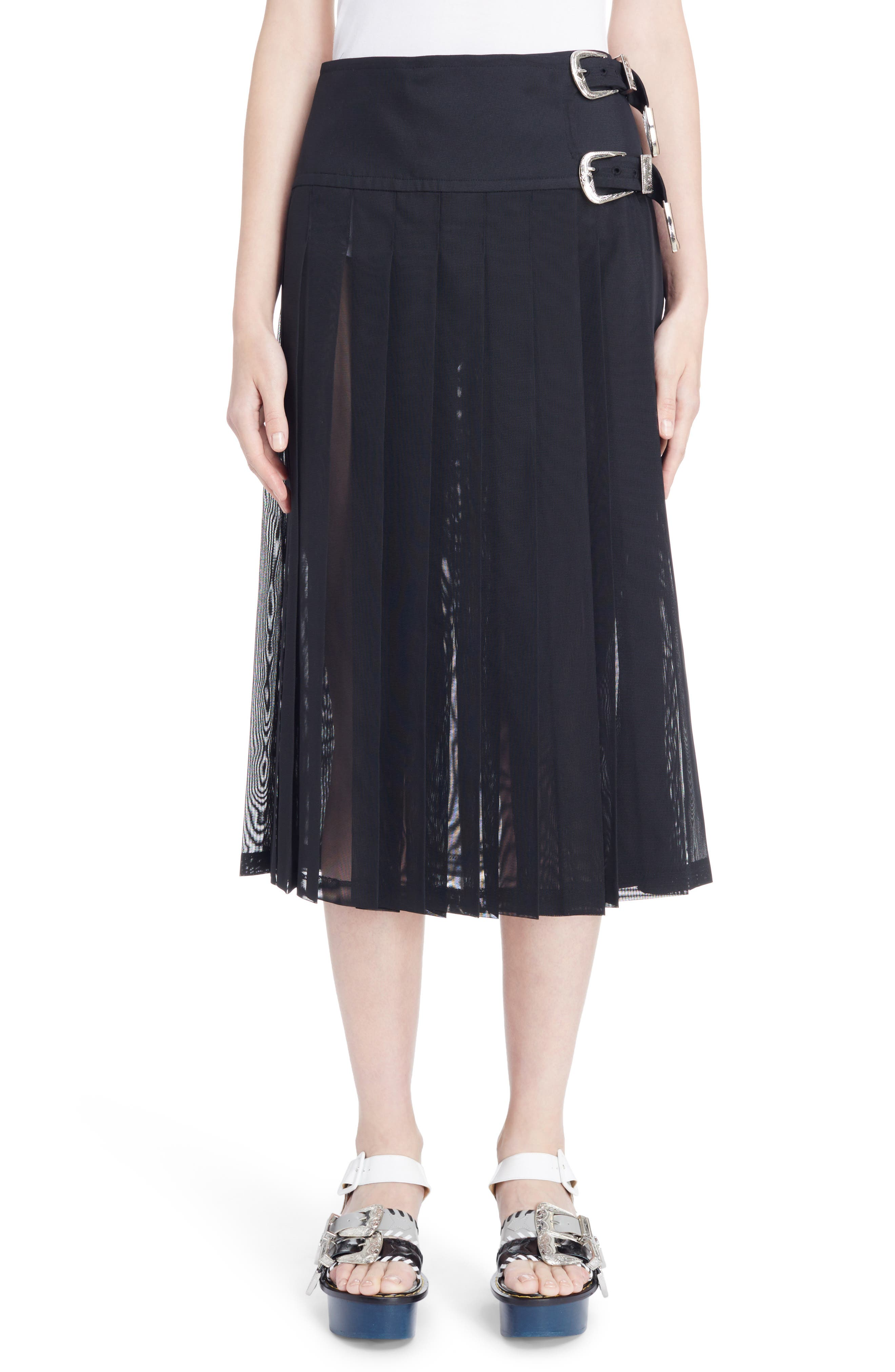 Buckle Pleated Mesh Skirt,                         Main,                         color, Black