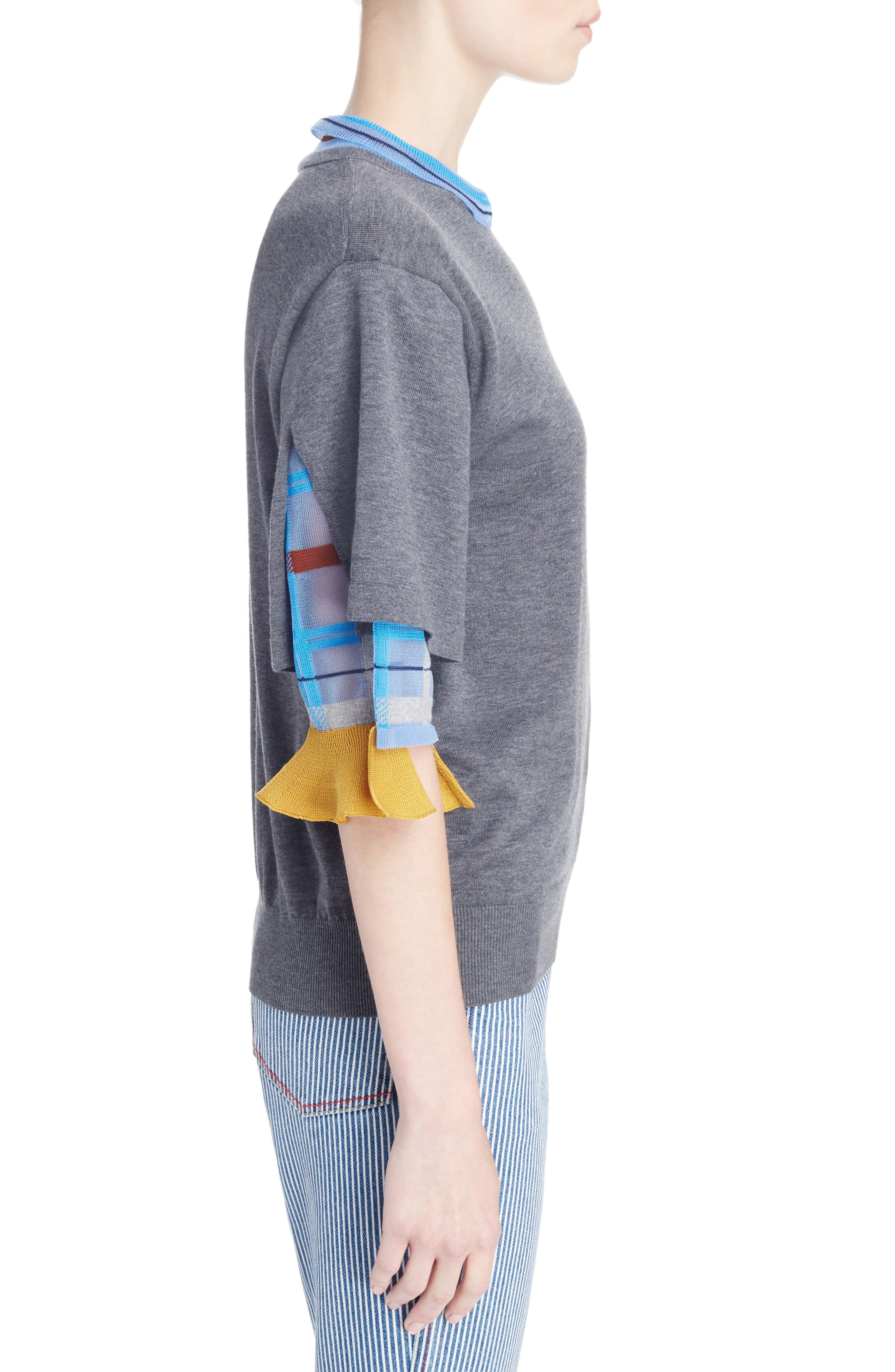 Check Tier Sleeve Sweater,                             Alternate thumbnail 3, color,                             Gray