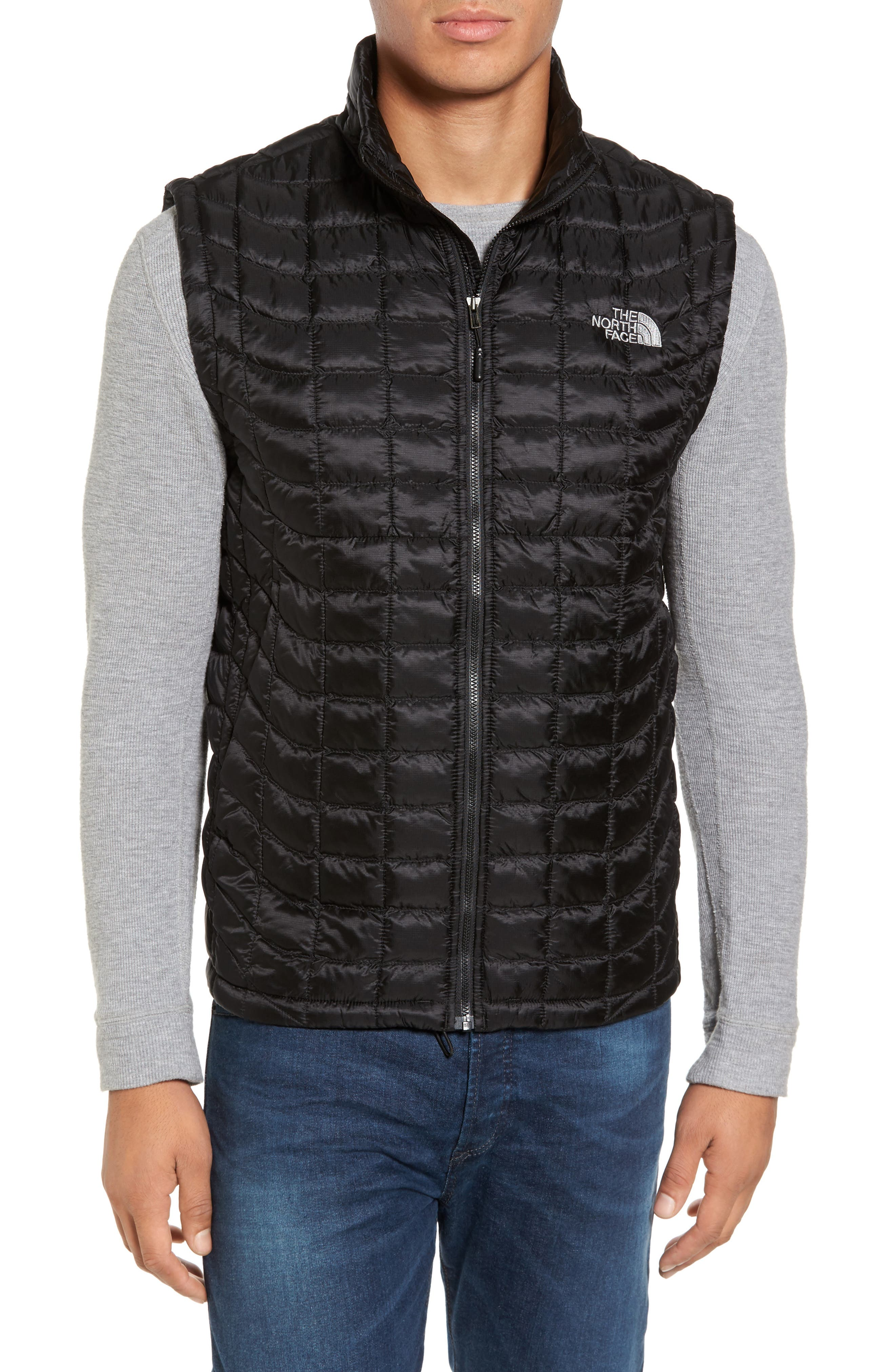 'ThermoBall<sup>™</sup>' Packable PrimaLoft<sup>®</sup> Vest,                             Main thumbnail 1, color,                             Black