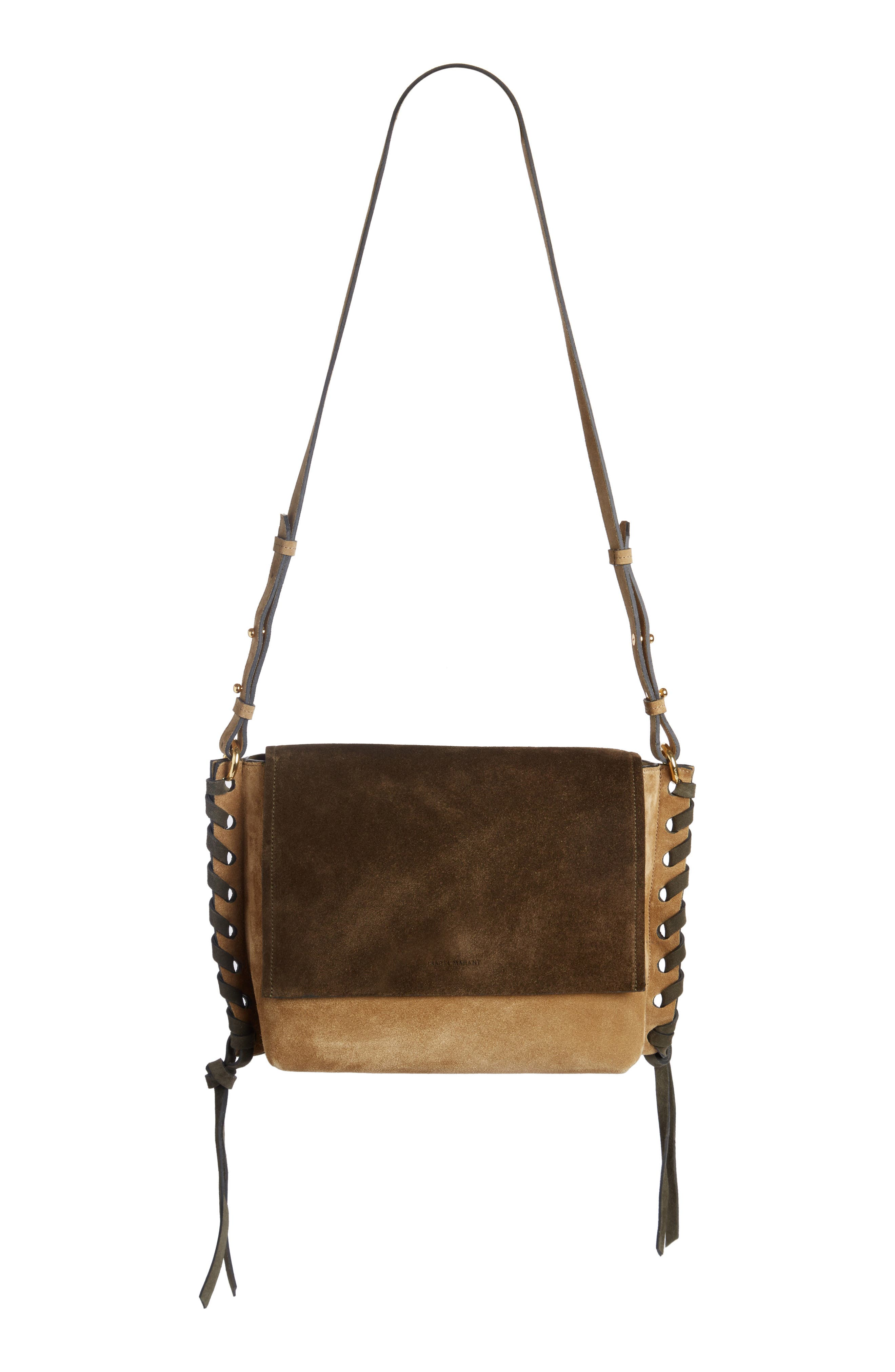 Asli Colorblock Suede Shoulder Bag,                             Main thumbnail 1, color,                             Khaki
