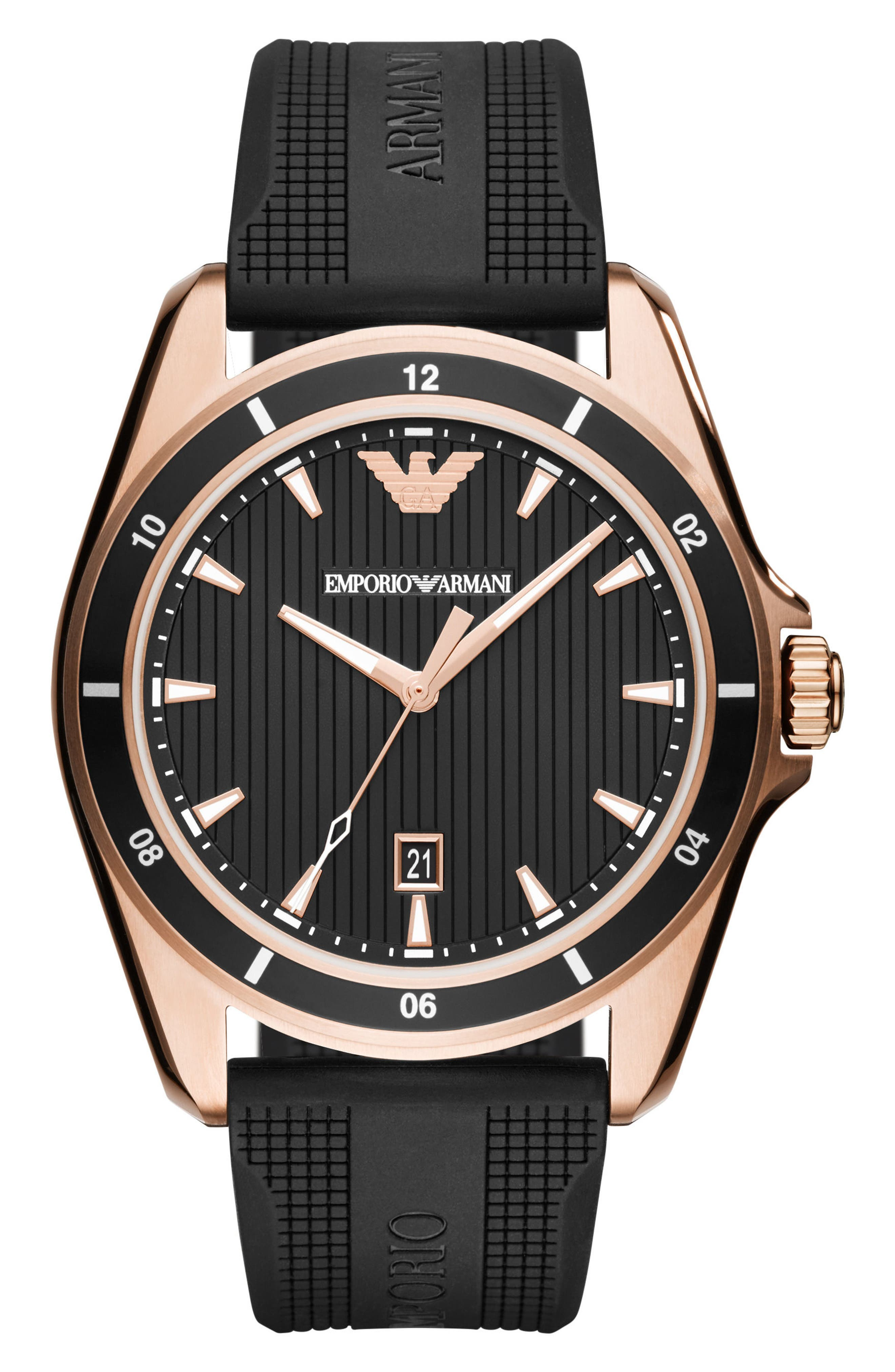Emporio Armani Silicone Strap Watch, 44mm