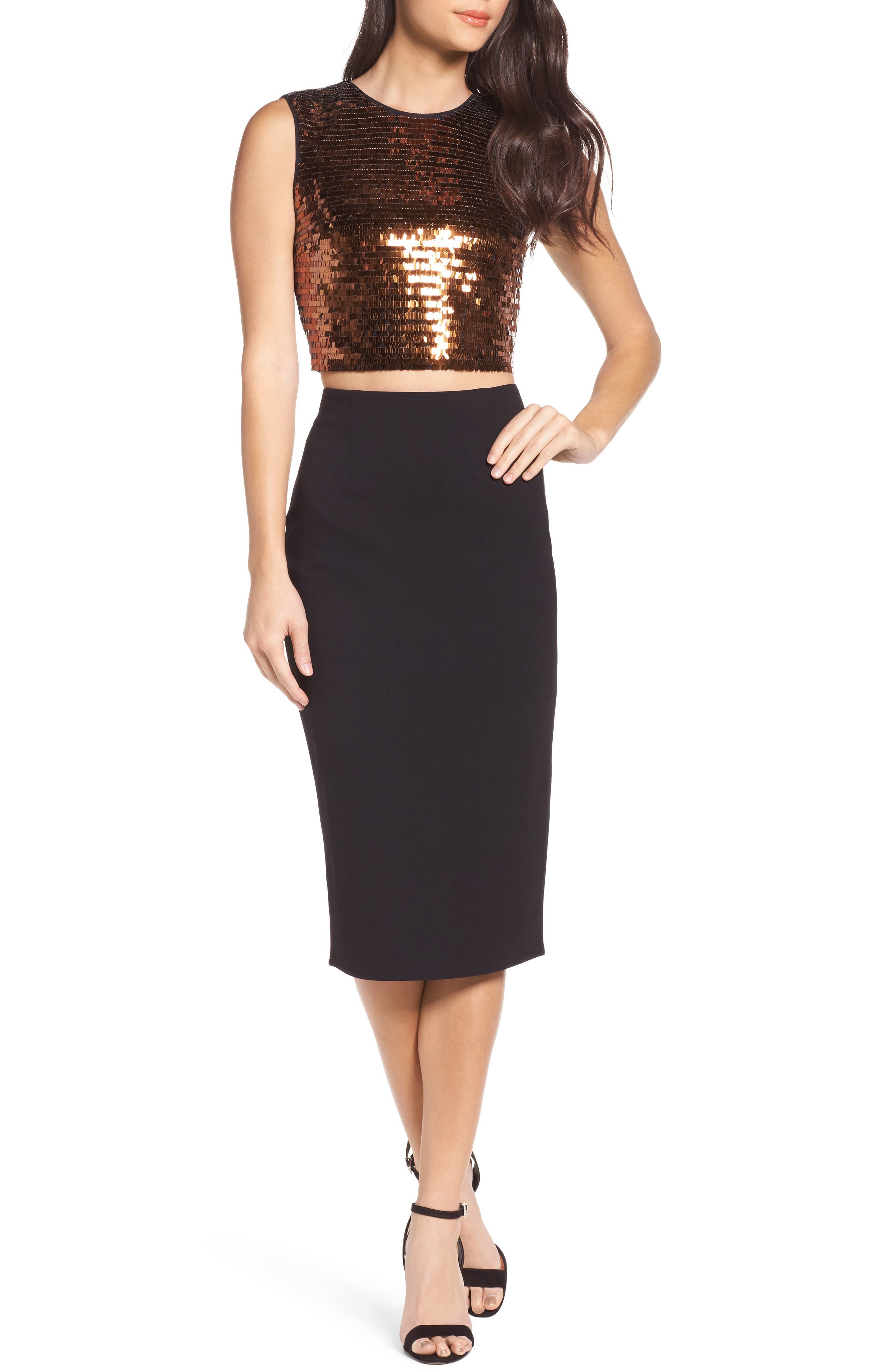 Disco Ball Two-Piece Dress,                             Main thumbnail 1, color,                             Copper Sequin