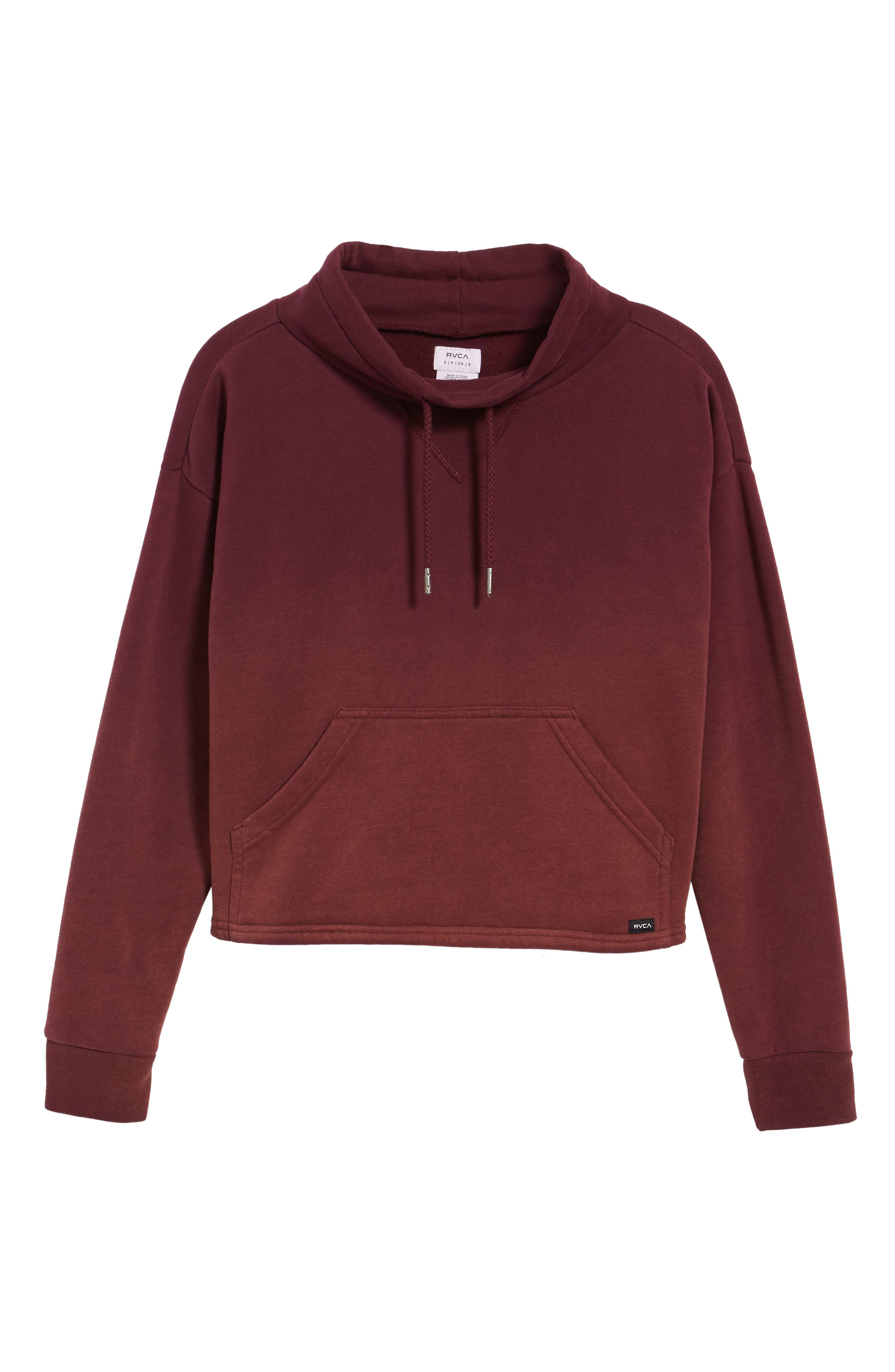 Smudged Crop Funnel Neck Sweatshirt,                             Alternate thumbnail 4, color,                             Wine Tasting