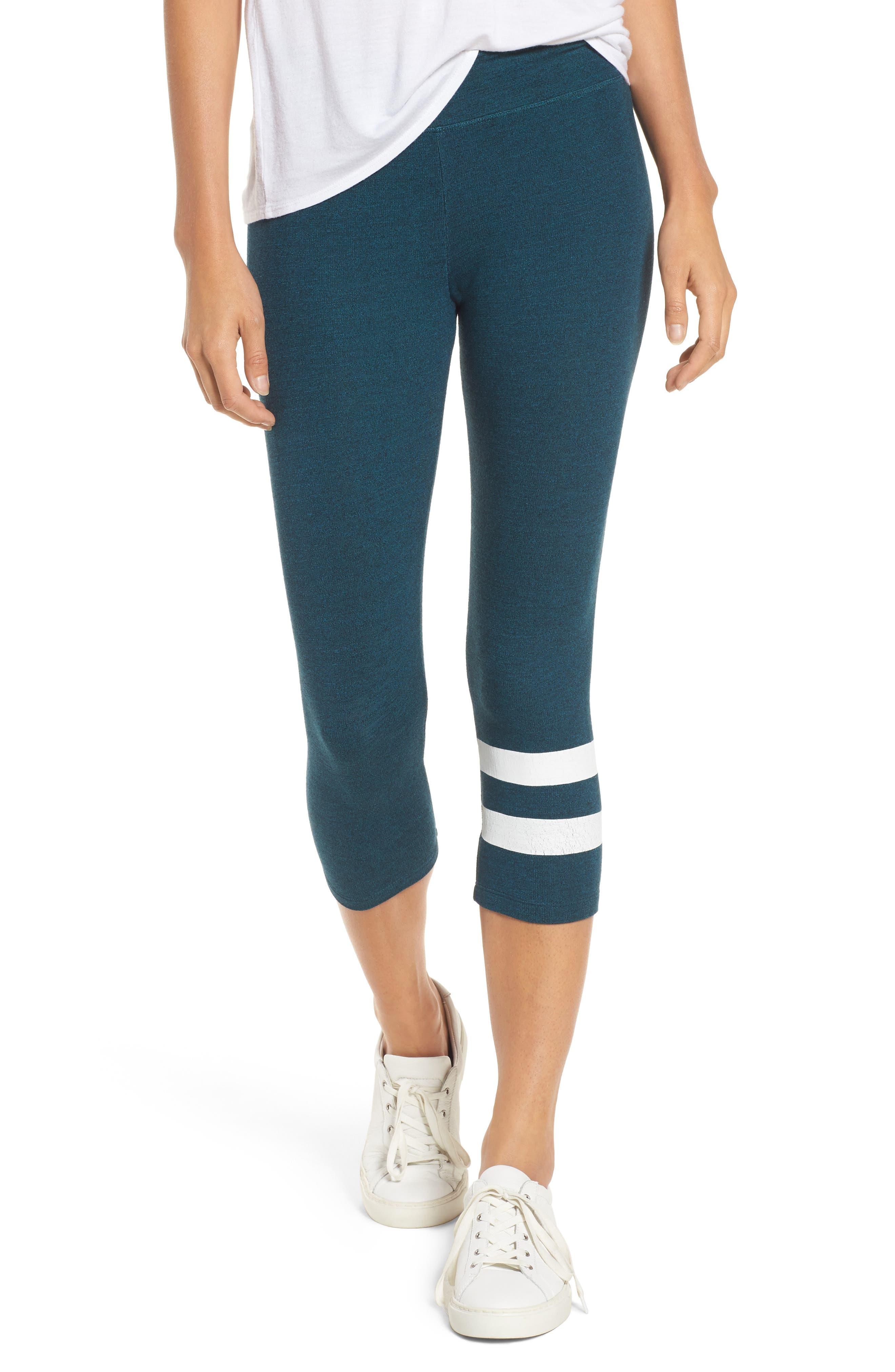 Stripe Capri Leggings,                         Main,                         color, Teal