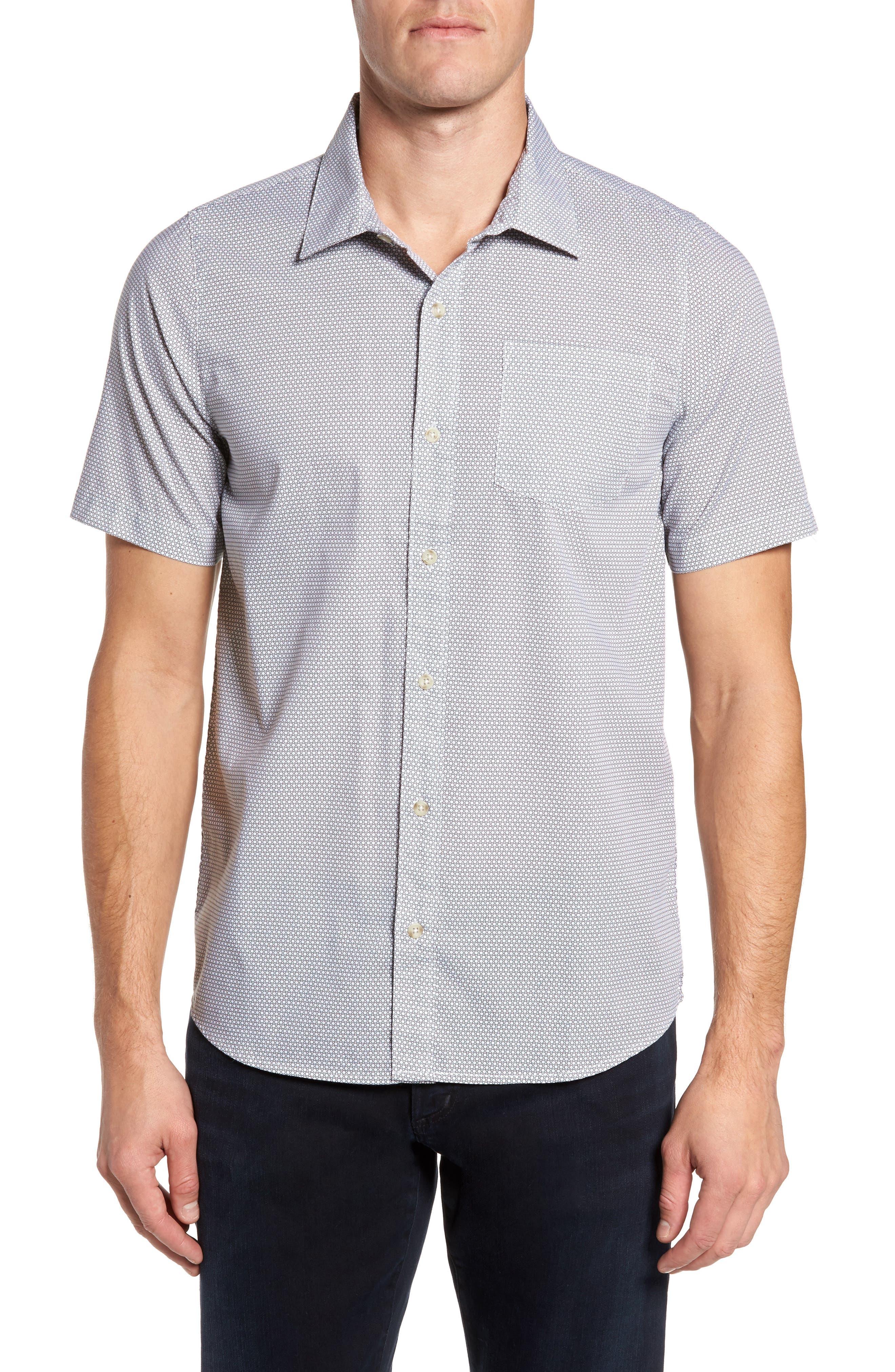 Eric Print Sport Shirt,                         Main,                         color, White