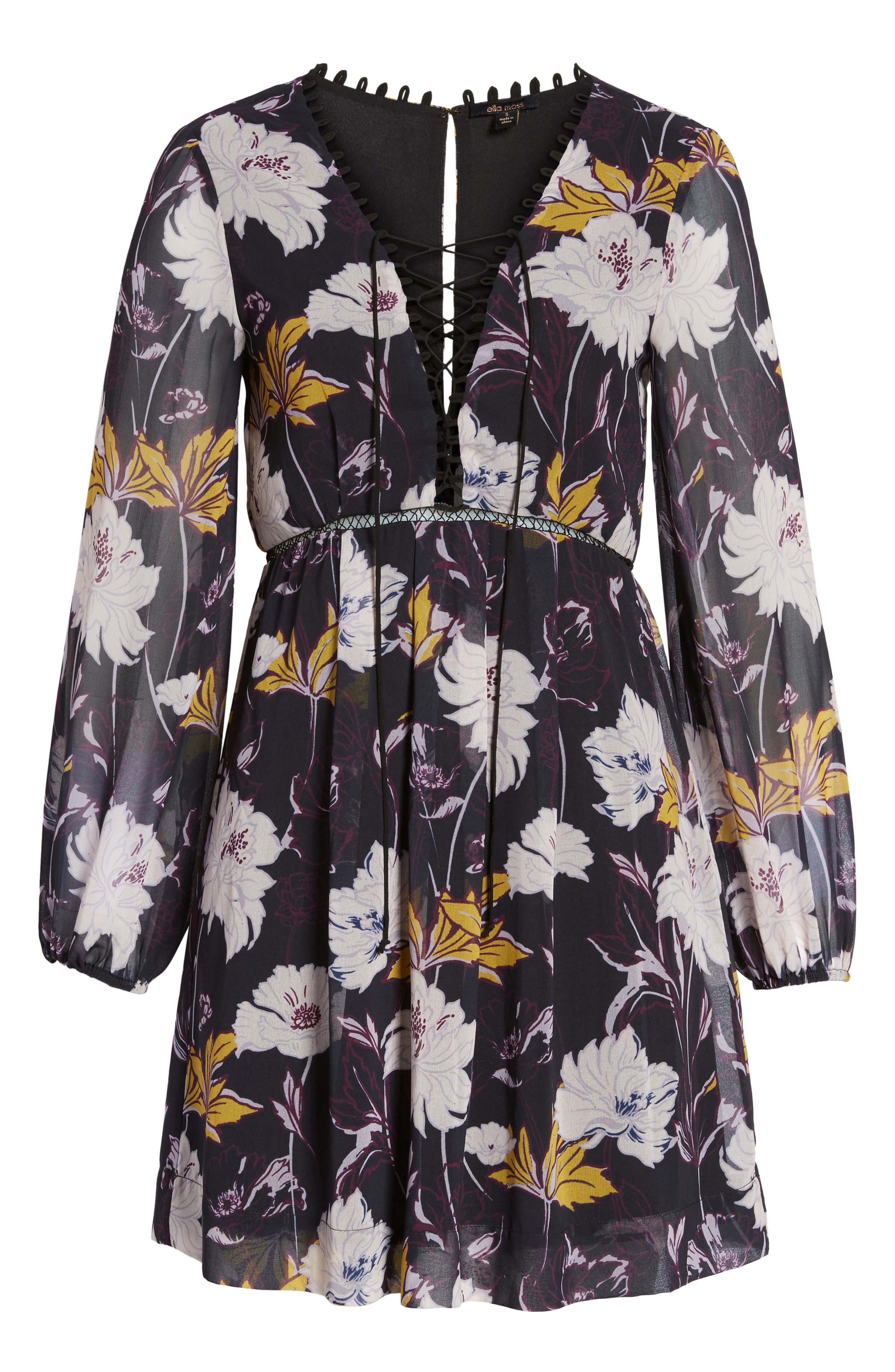 Floral Haze Minidress,                             Alternate thumbnail 6, color,                             Black
