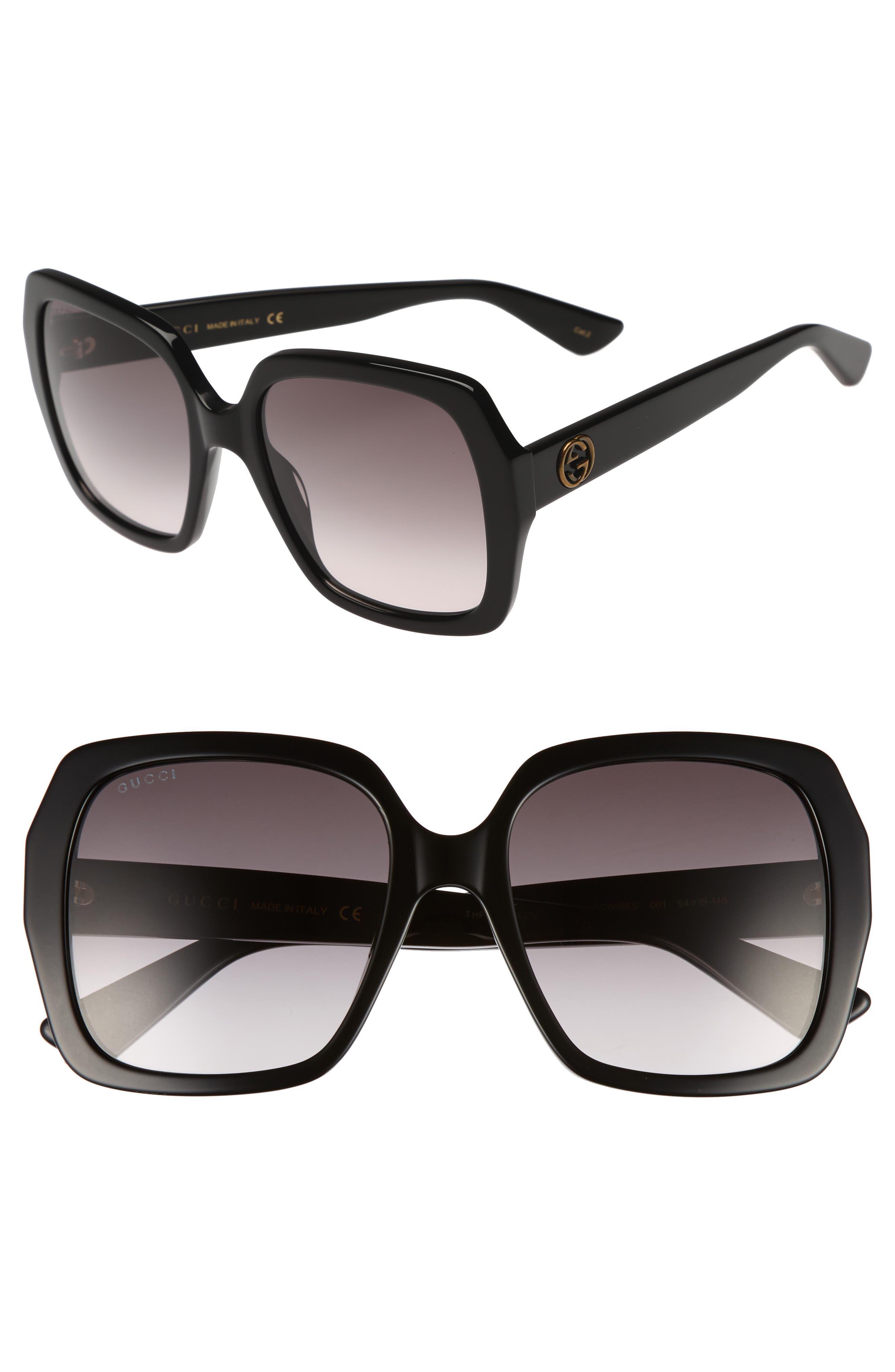 54mm Gradient Square Sunglasses,                             Main thumbnail 1, color,                             Black/ Grey