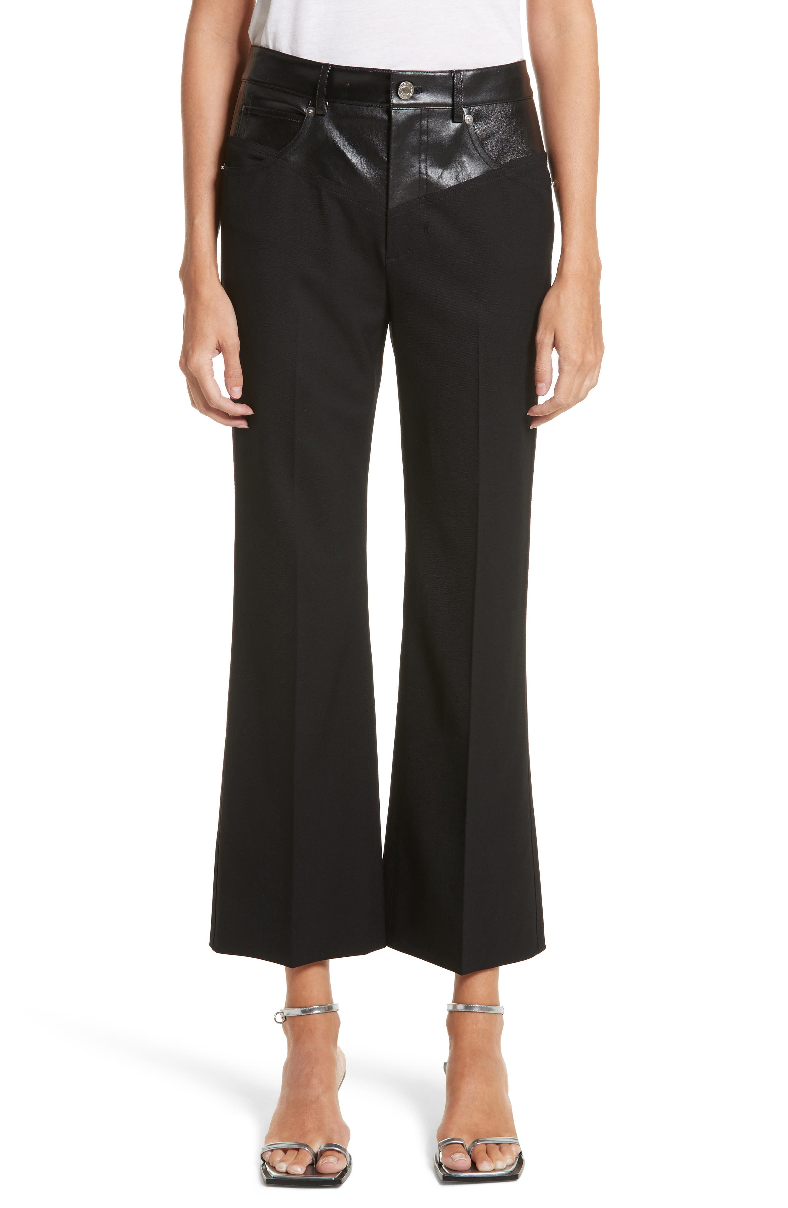 Textured Suiting & Leather Garter Flare Pants,                             Main thumbnail 1, color,                             Black