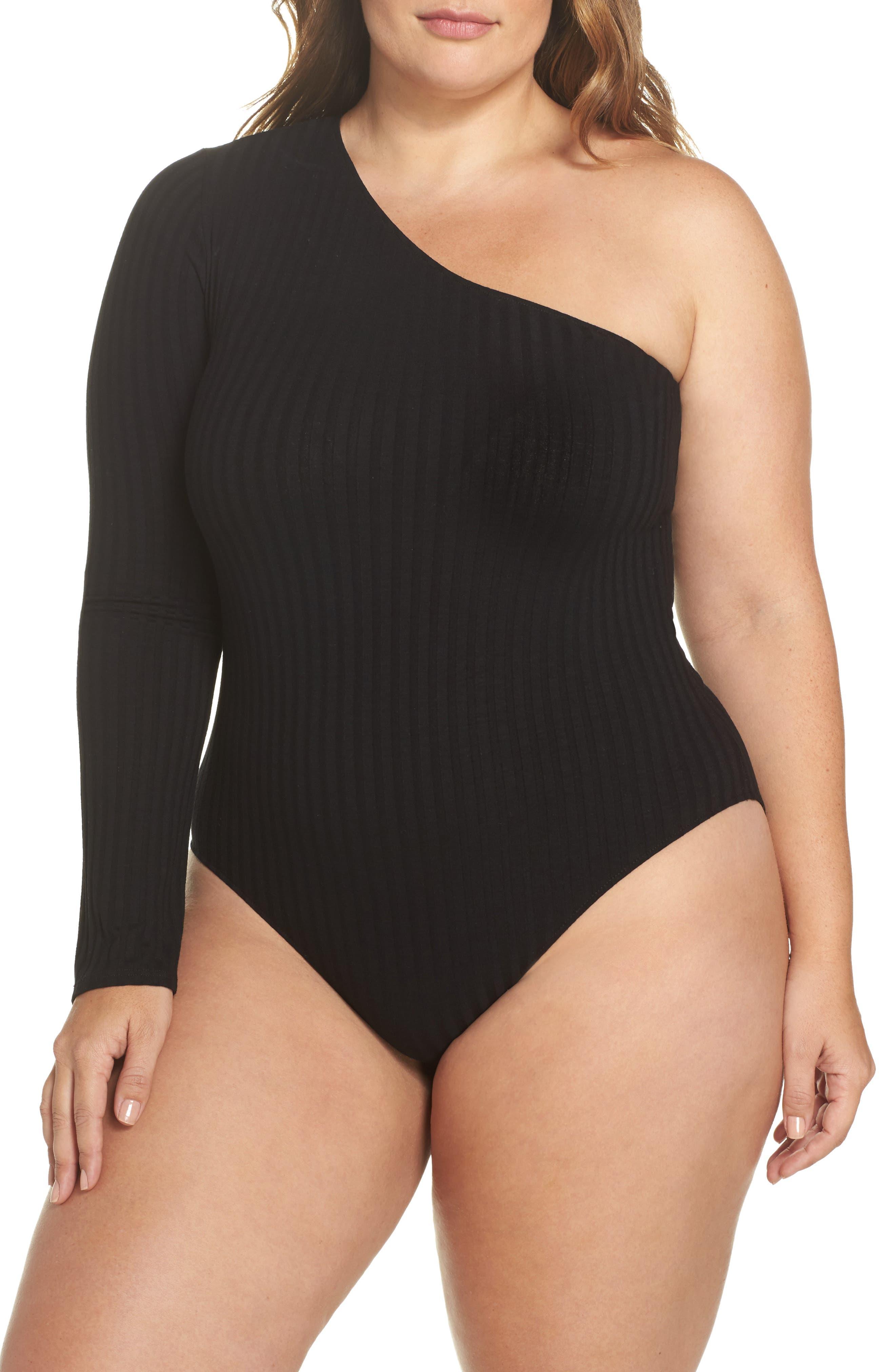 Ribbed One-Shoulder Bodysuit,                         Main,                         color, Black