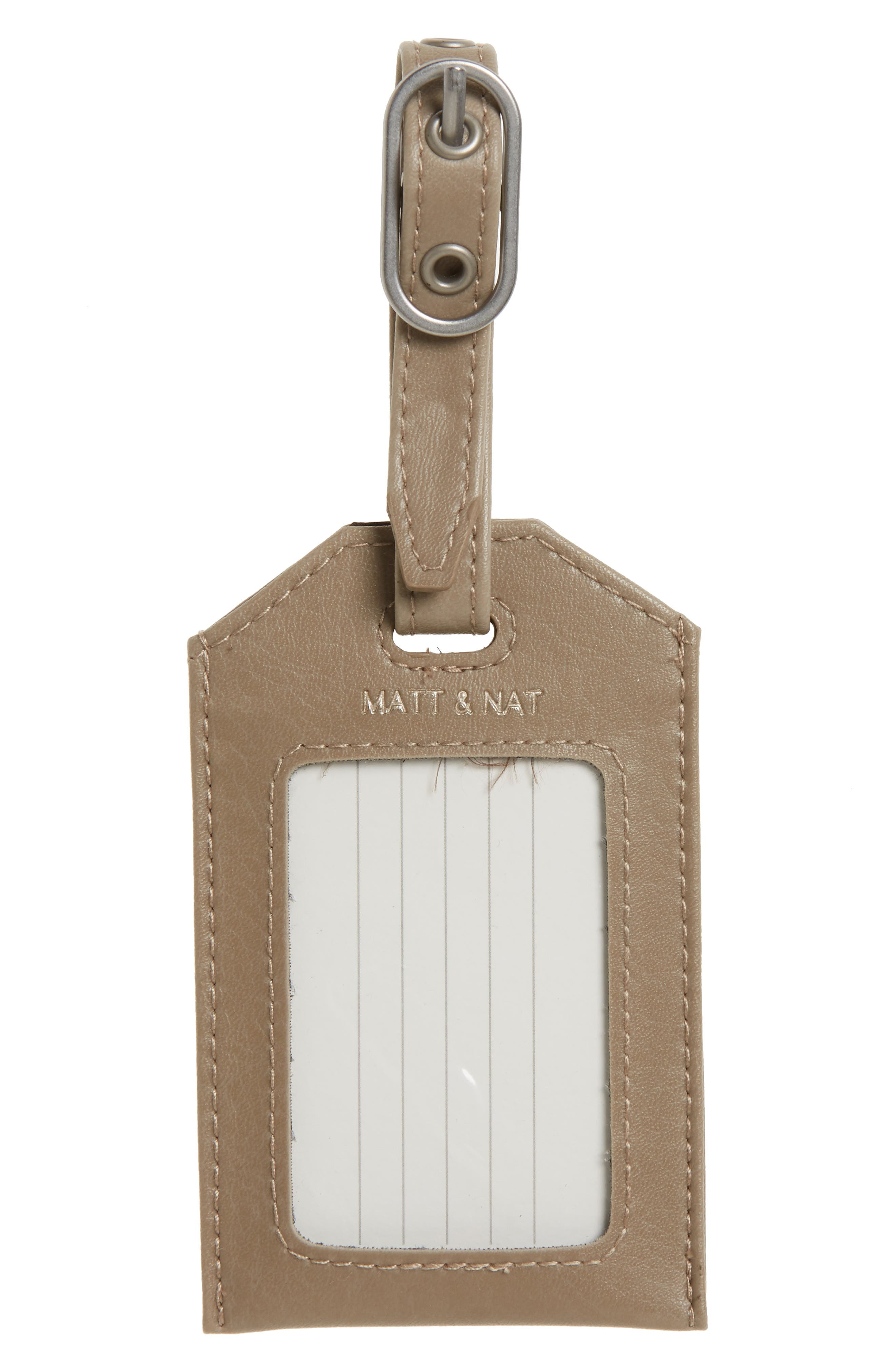 Trotter Faux Leather Luggage Tag,                         Main,                         color, Feather