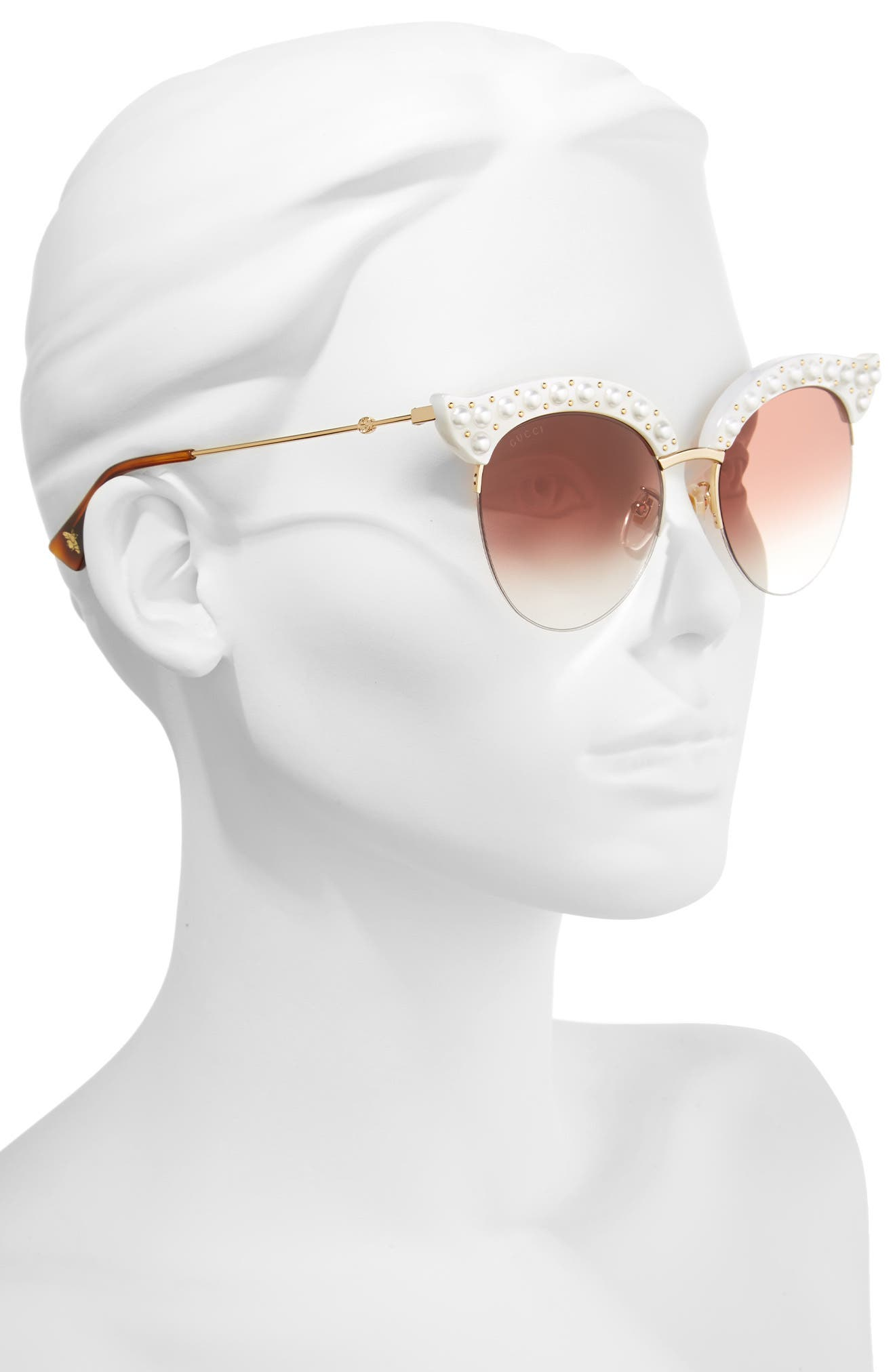 53mm Embellished Cat Eye Sunglasses,                             Alternate thumbnail 2, color,                             White