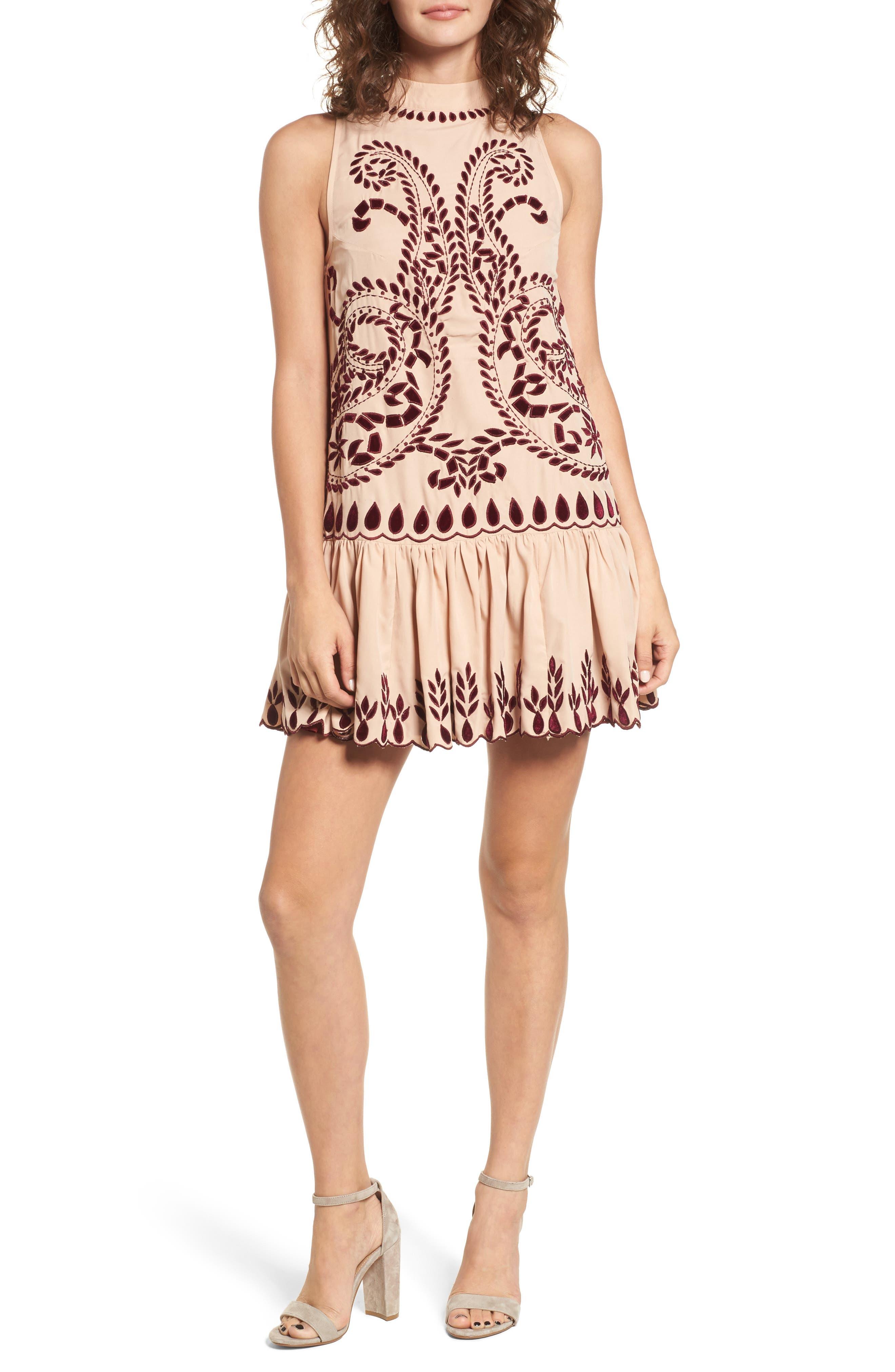 Lauren Drop Waist Minidress,                         Main,                         color, Nude