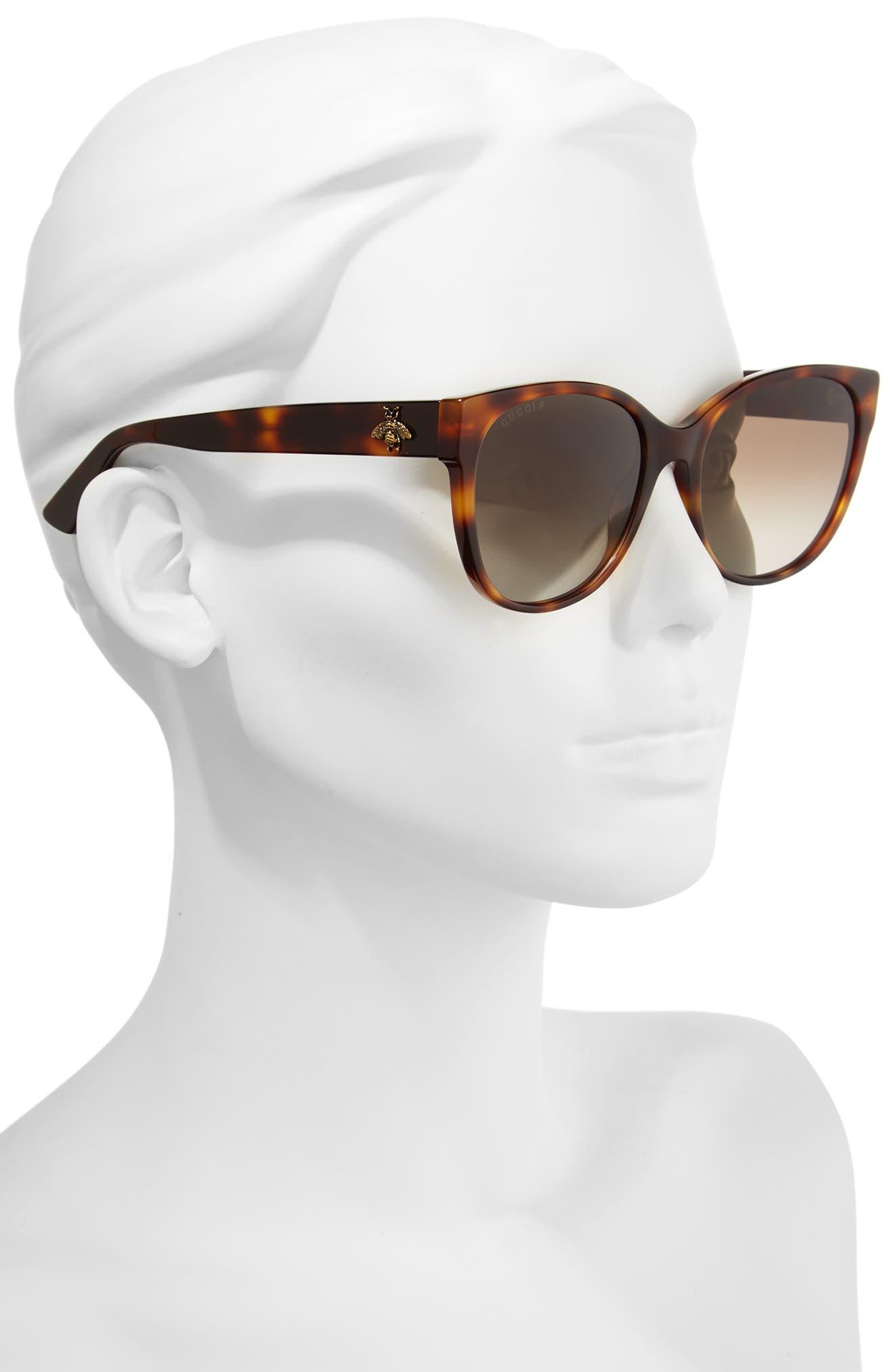 56mm Polarized Cat Eye Sunglasses,                             Alternate thumbnail 2, color,                             Havana/ Brown