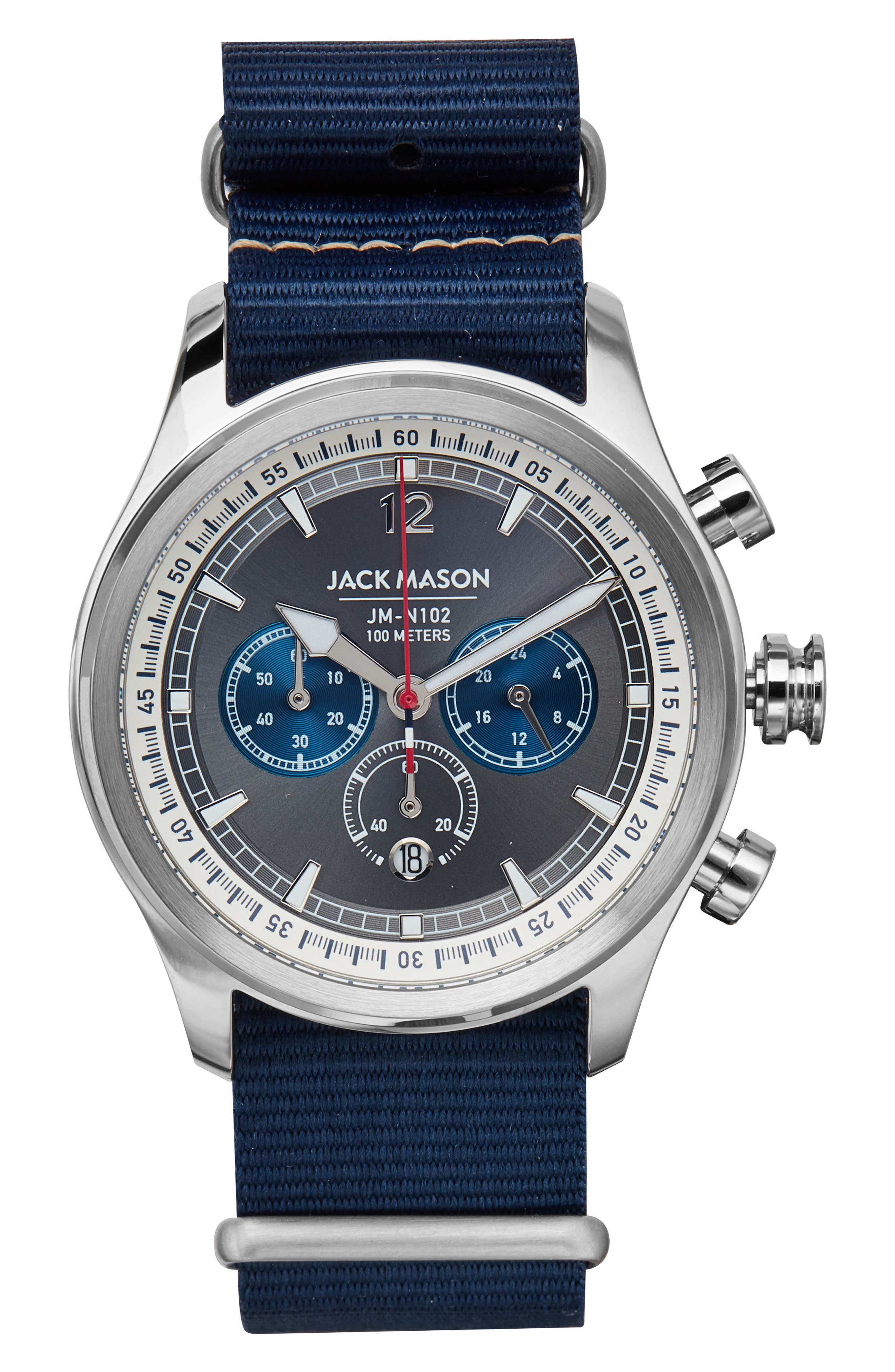 Nautical Chronograph NATO Strap Watch, 42mm,                             Main thumbnail 1, color,                             Grey/ Navy