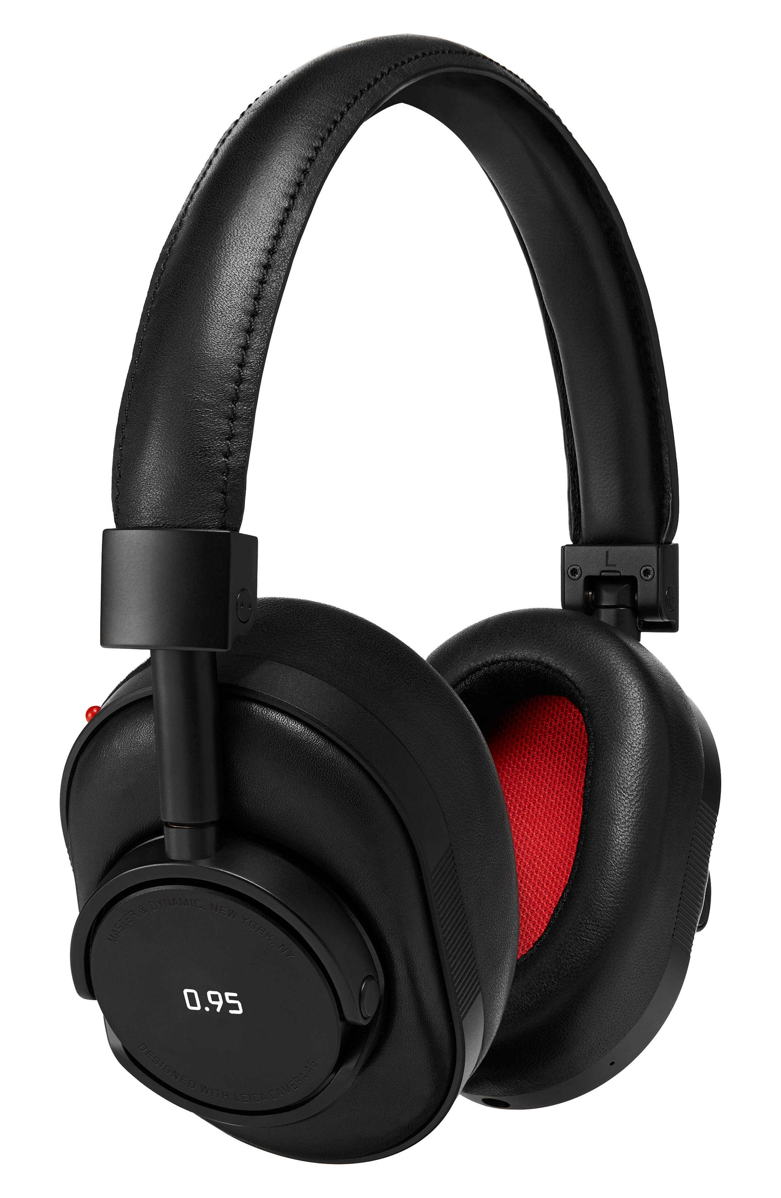 MW60 Wireless Leather Over Ear Headphones,                         Main,                         color, Black/ Black/ Red