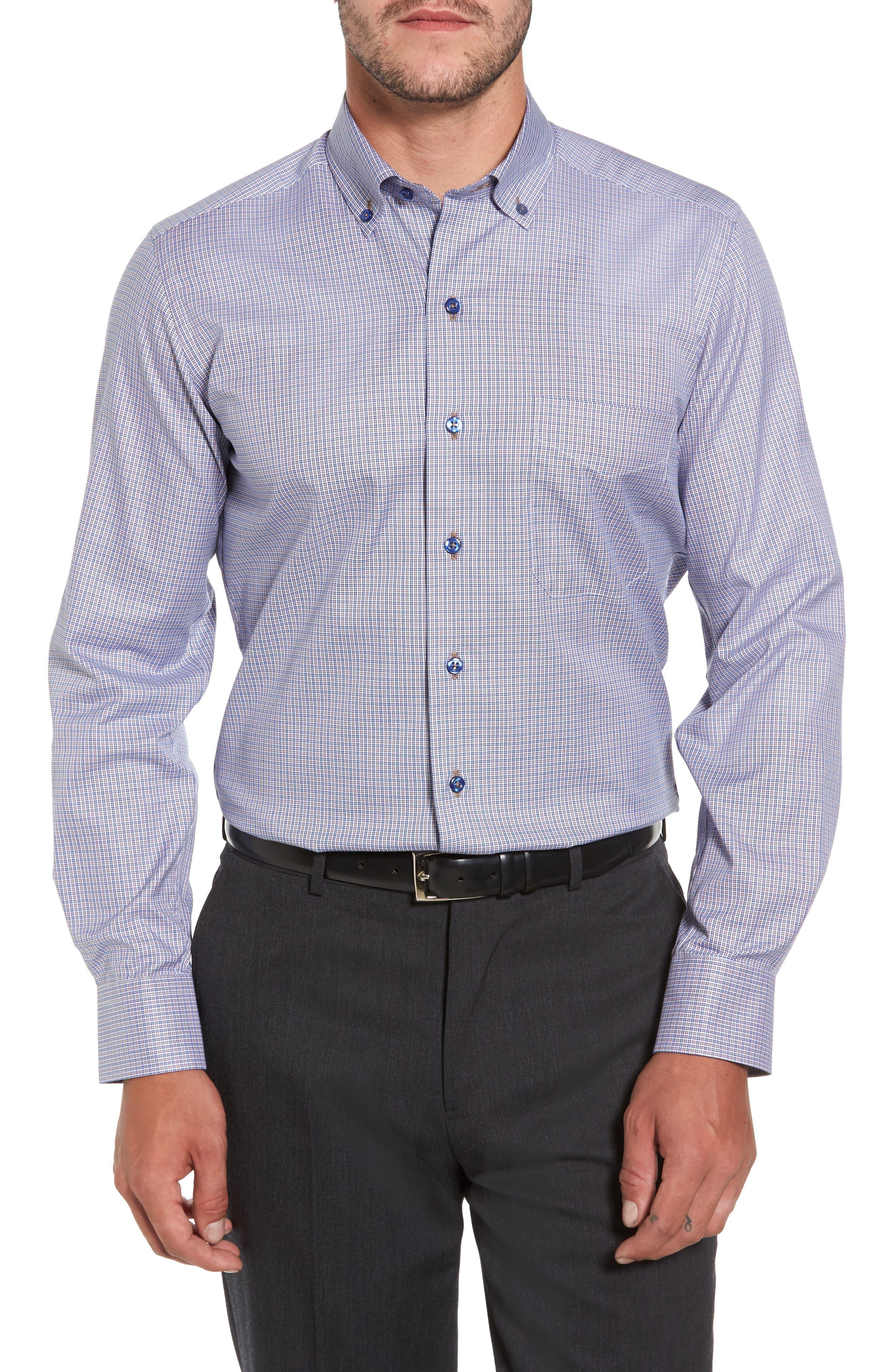 Microcheck Sport Shirt,                         Main,                         color, Navy/ Chocolate