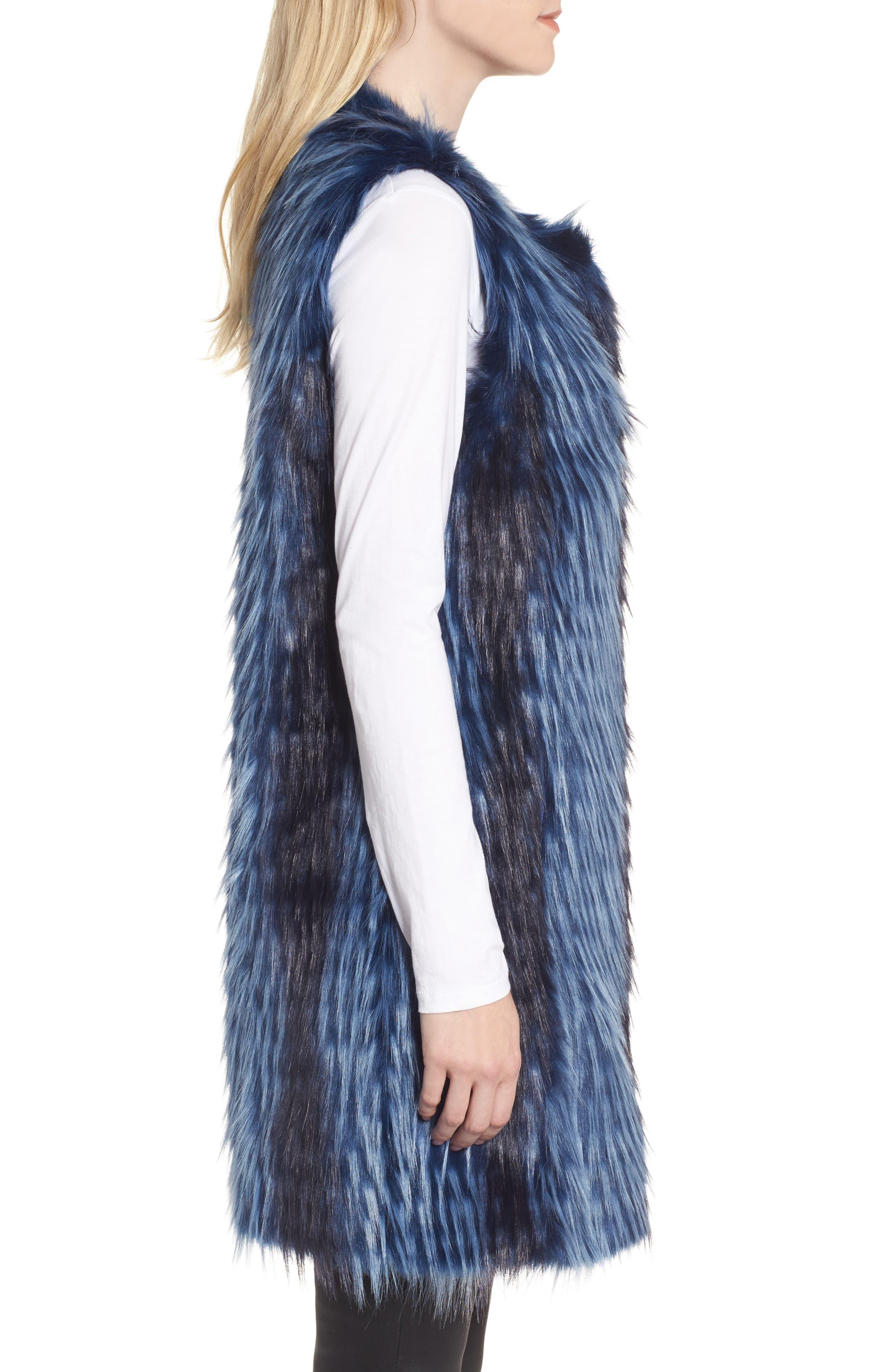 Dion Faux Fur Vest,                             Alternate thumbnail 3, color,                             Blue