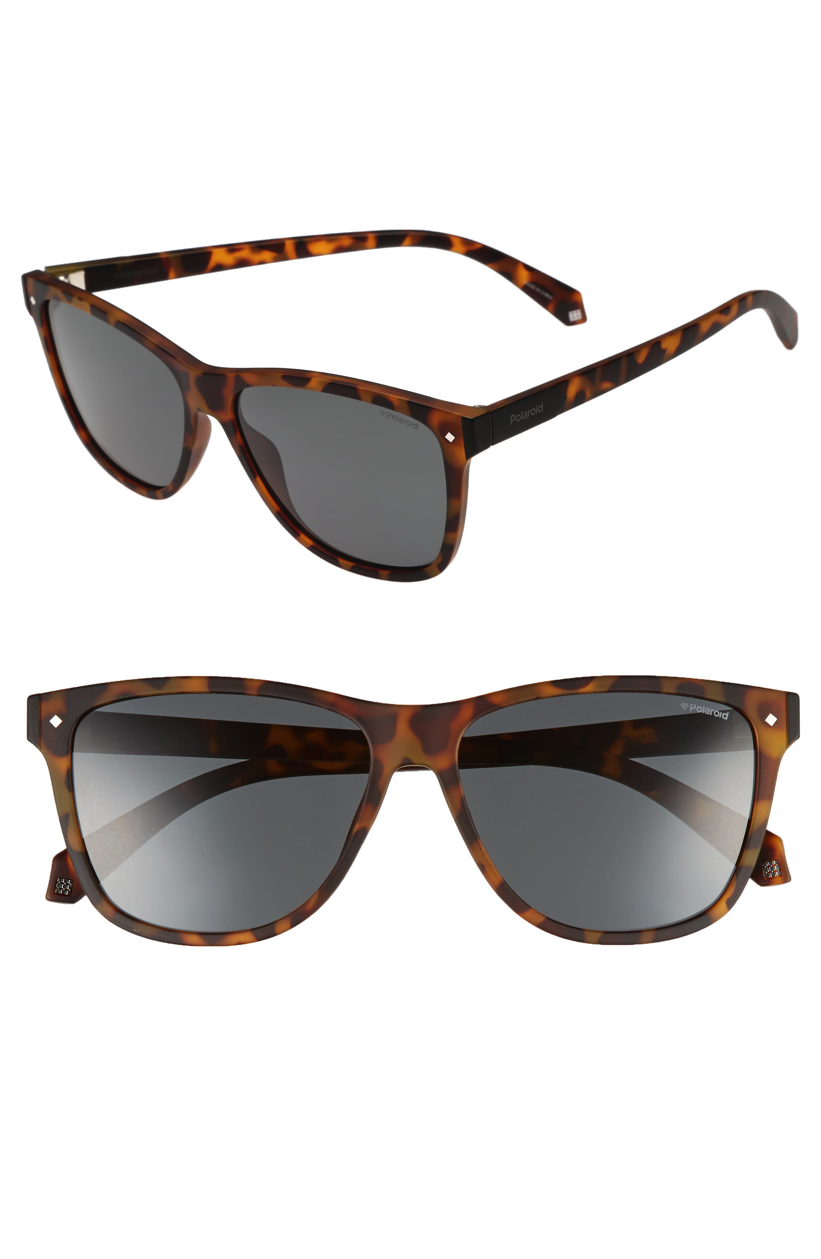 56mm Polarized Sunglasses,                         Main,                         color, Matte Havana