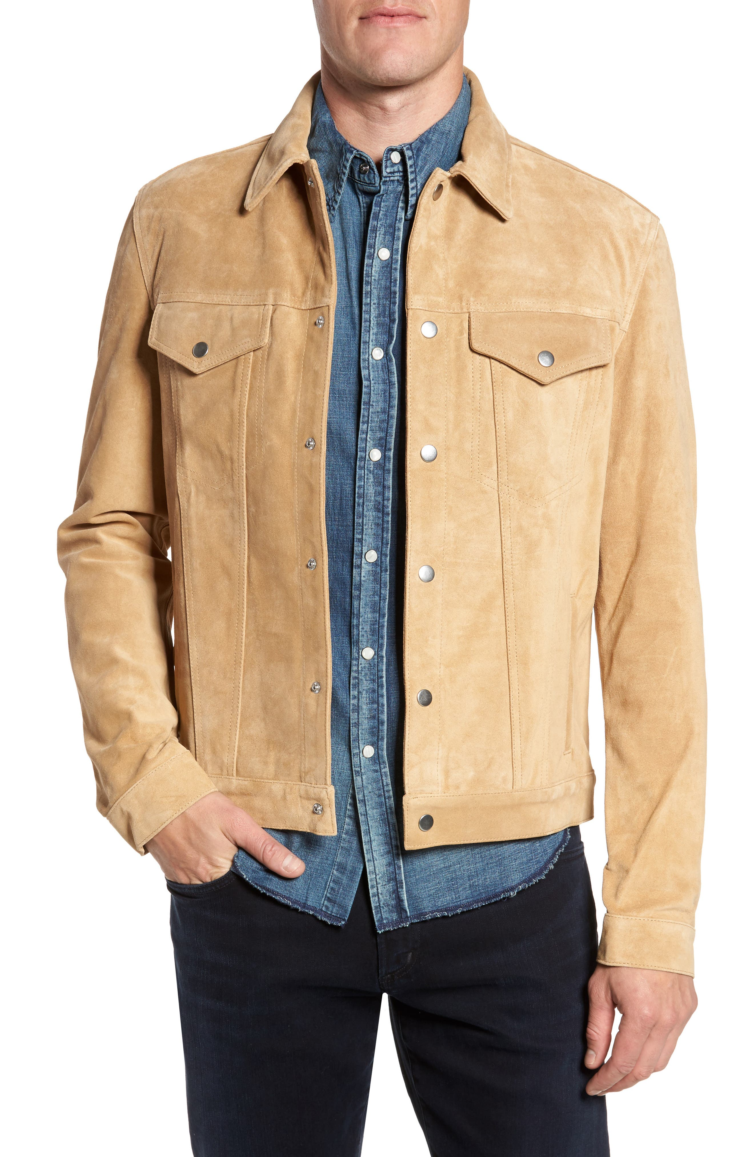 Main Image - FRAME Suede Shirt Jacket