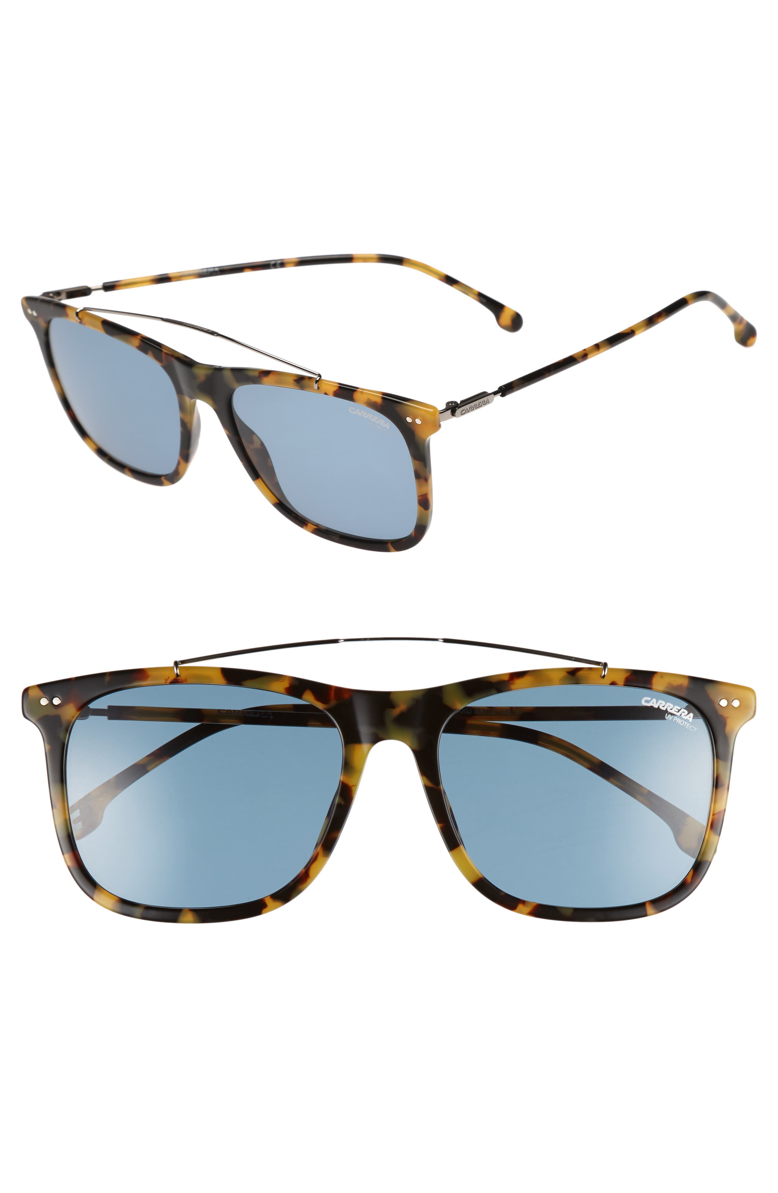 Carrera 150/S 55mm Sunglasses,                         Main,                         color, Havana Ruthenium/ Blue Avio