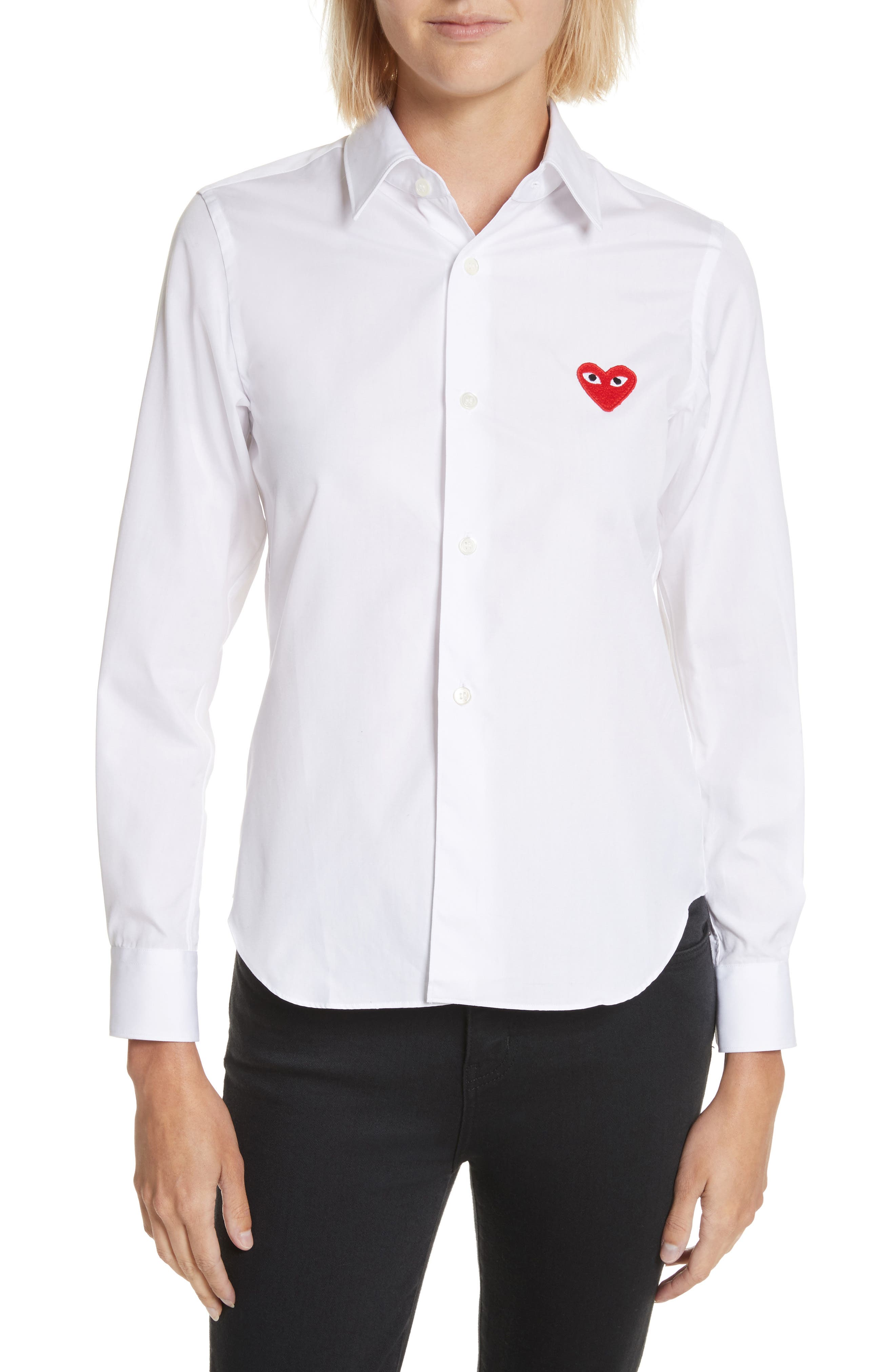 PLAY Red Heart Cotton Shirt,                         Main,                         color, White