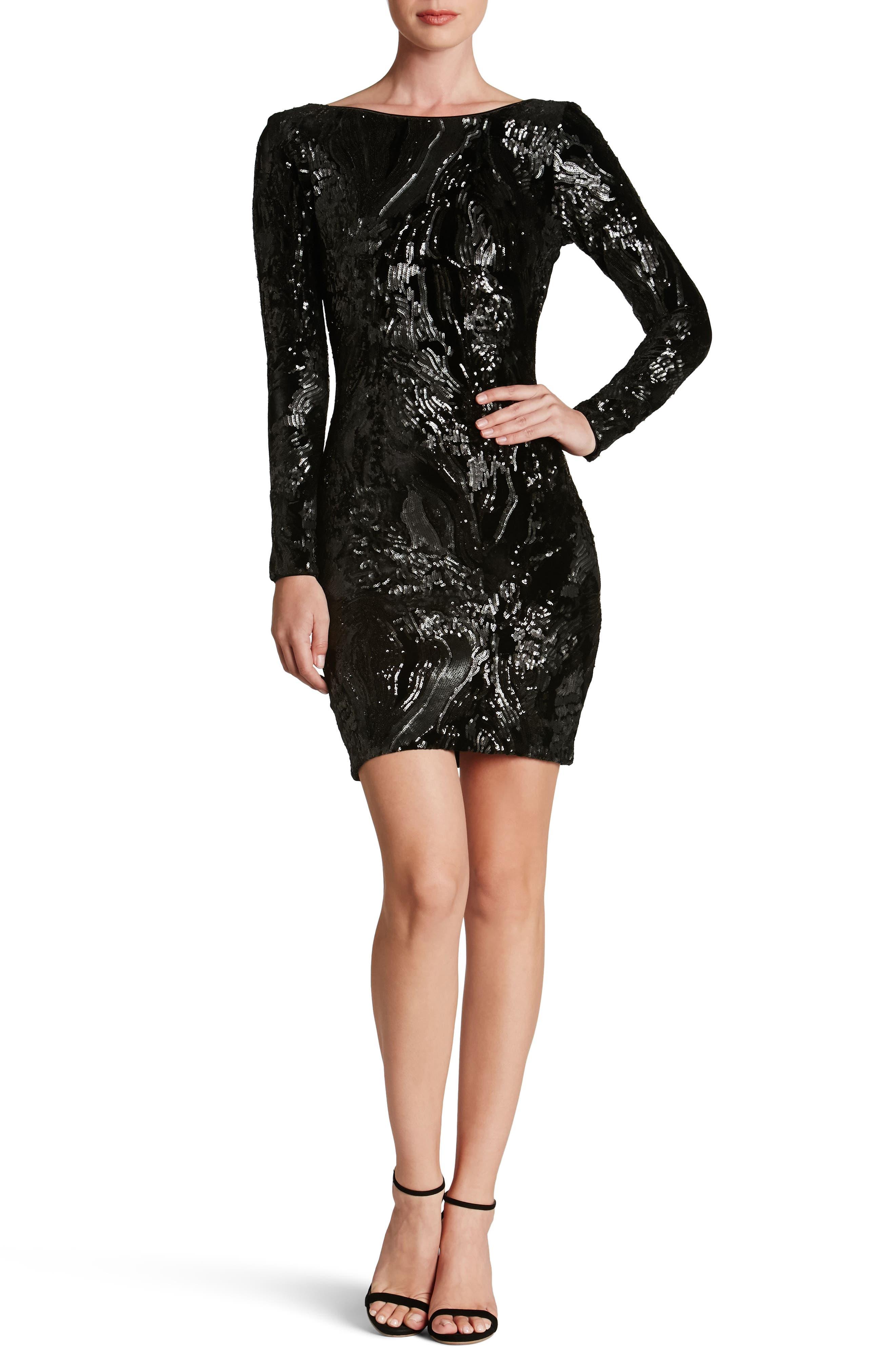 Alternate Image 1 Selected - Dress the Population Lola Sequin Velvet Body-Con Dress