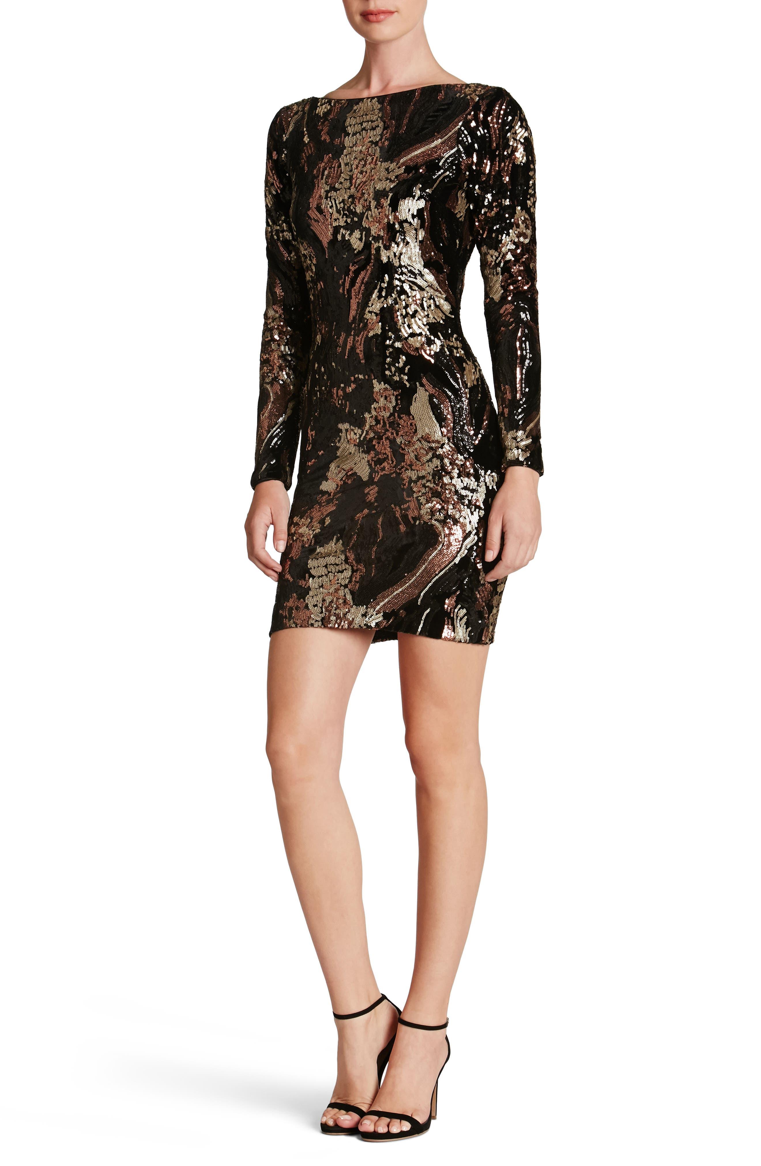 Dress the Population Lola Sequin Velvet Body-Con Dress