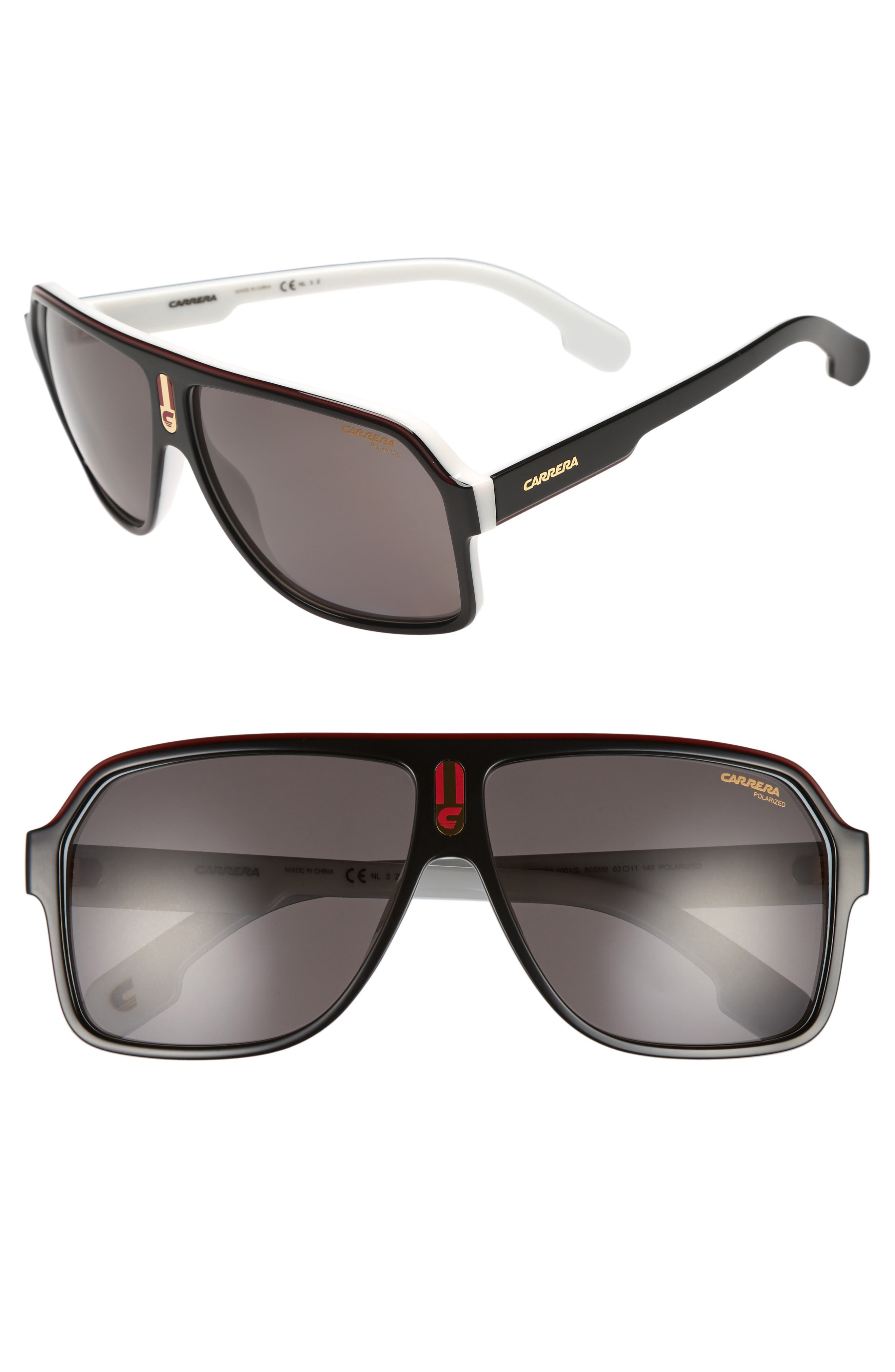 1001/S 62mm Sunglasses,                         Main,                         color, Black White/ Gray Polarized