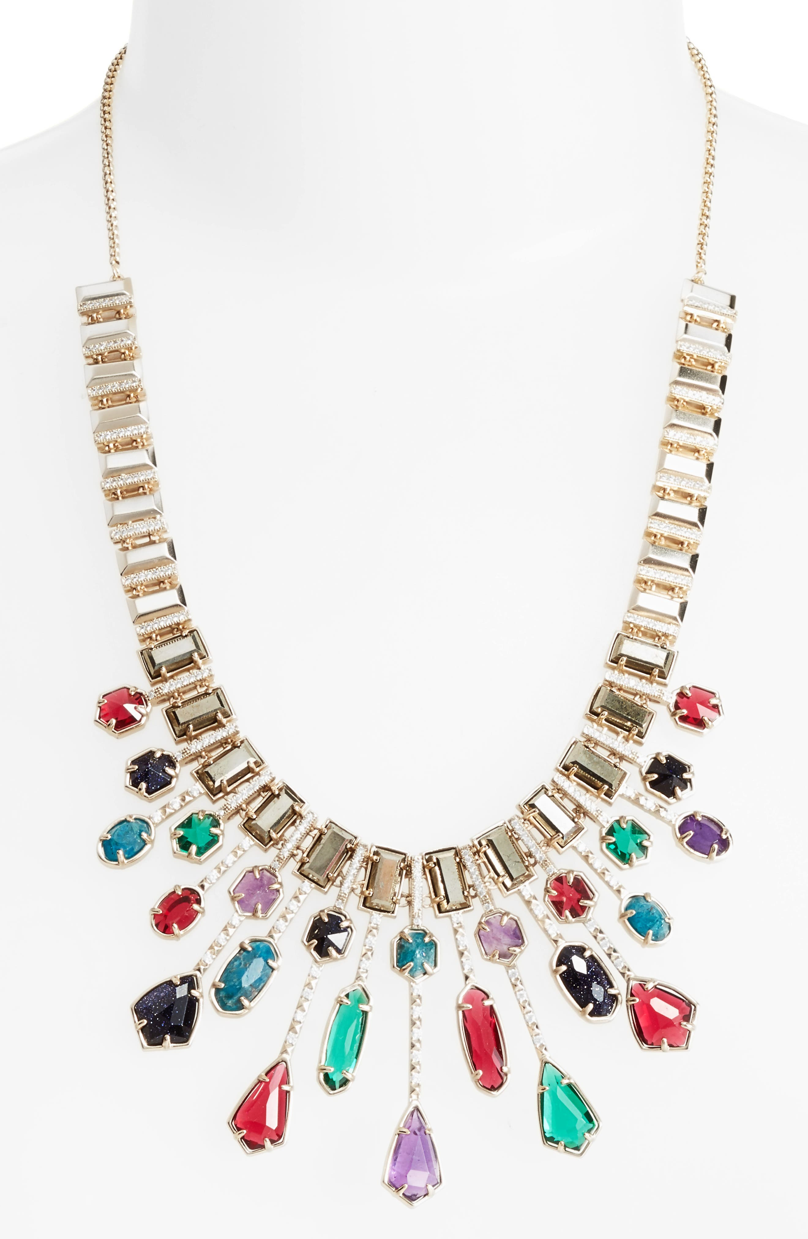 Bette Bib Necklace,                             Alternate thumbnail 2, color,                             Jewel Tone Mix/ Brass