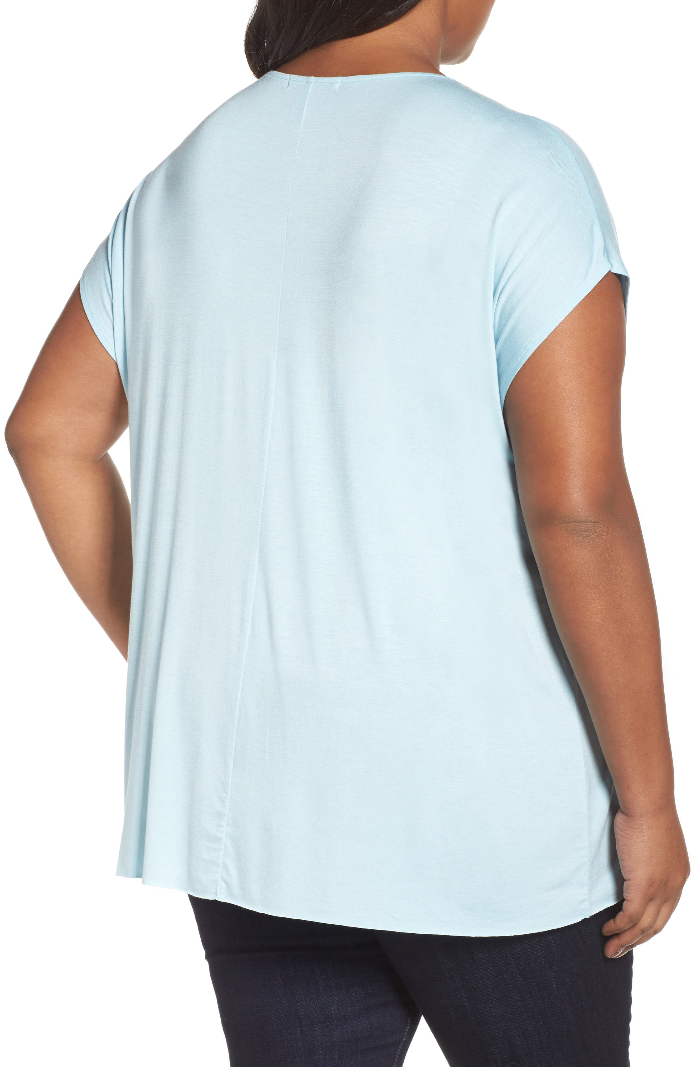 Pleat Front Tee,                             Alternate thumbnail 2, color,                             Blue Crystal