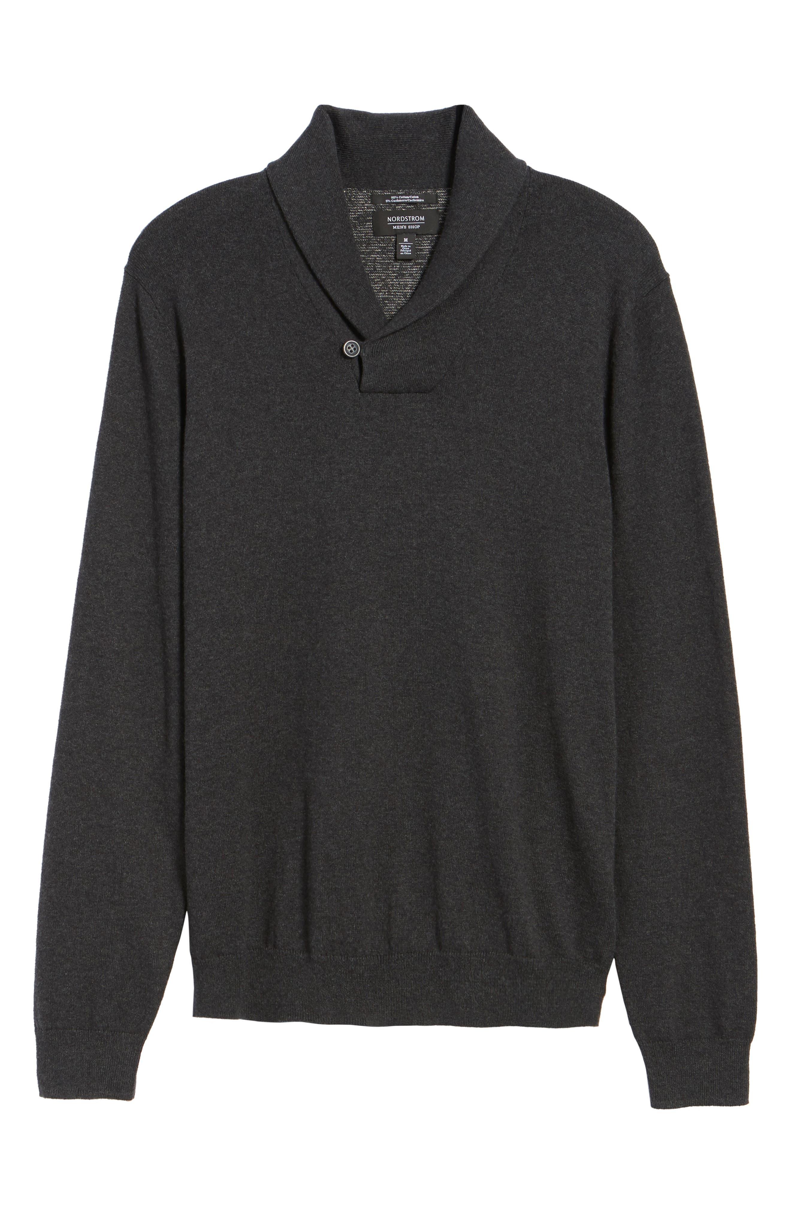 Alternate Image 6  - Nordstrom Men's Shop Shawl Collar Sweater (Big)