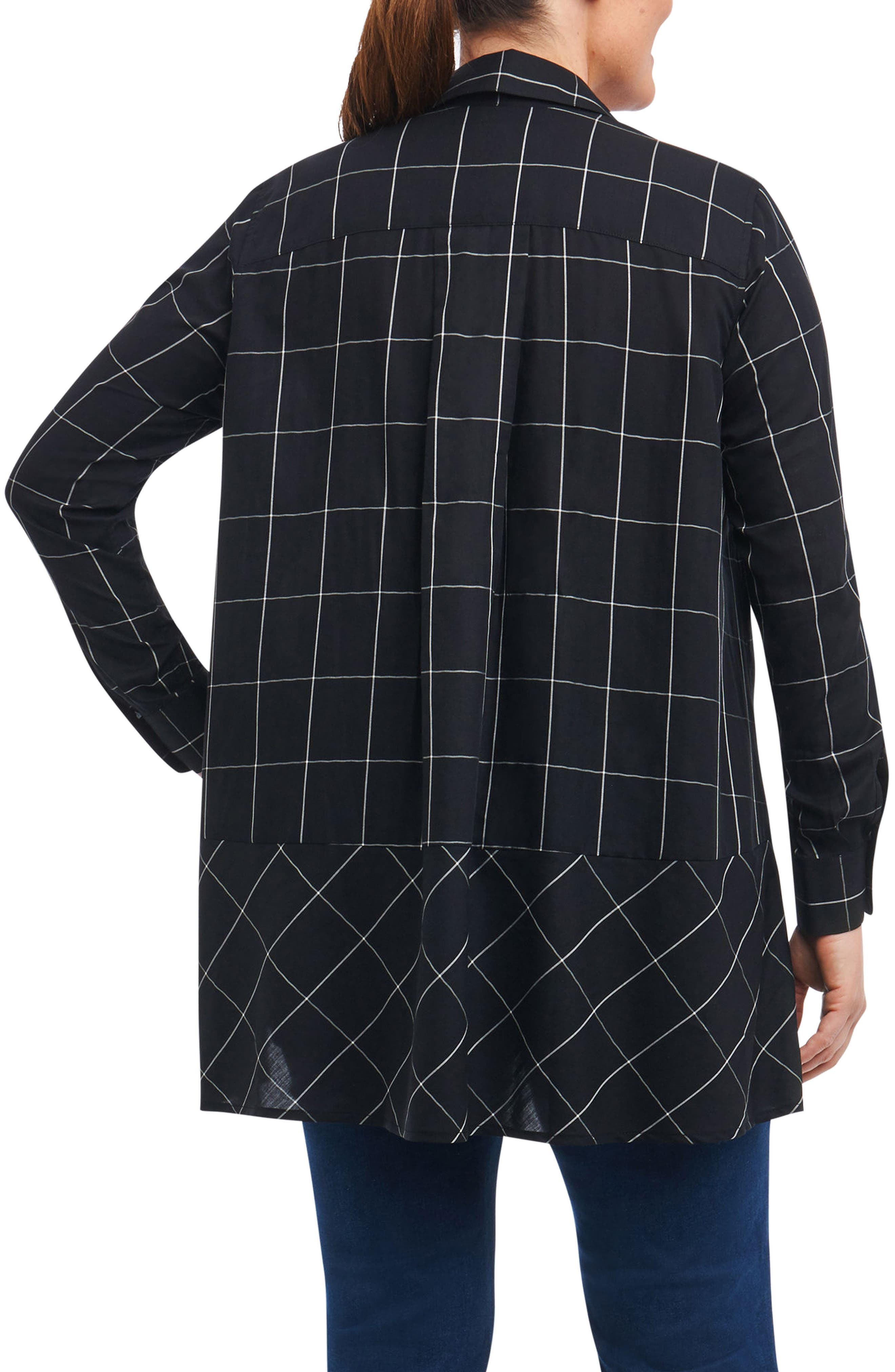 Alternate Image 2  - Foxcroft Daniela Windowpane Tunic Shirt (Plus Size)