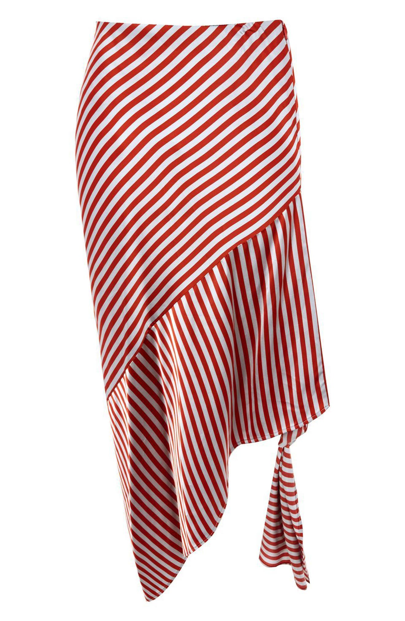 Stripe Knot Midi Skirt,                             Alternate thumbnail 5, color,                             Red Multi