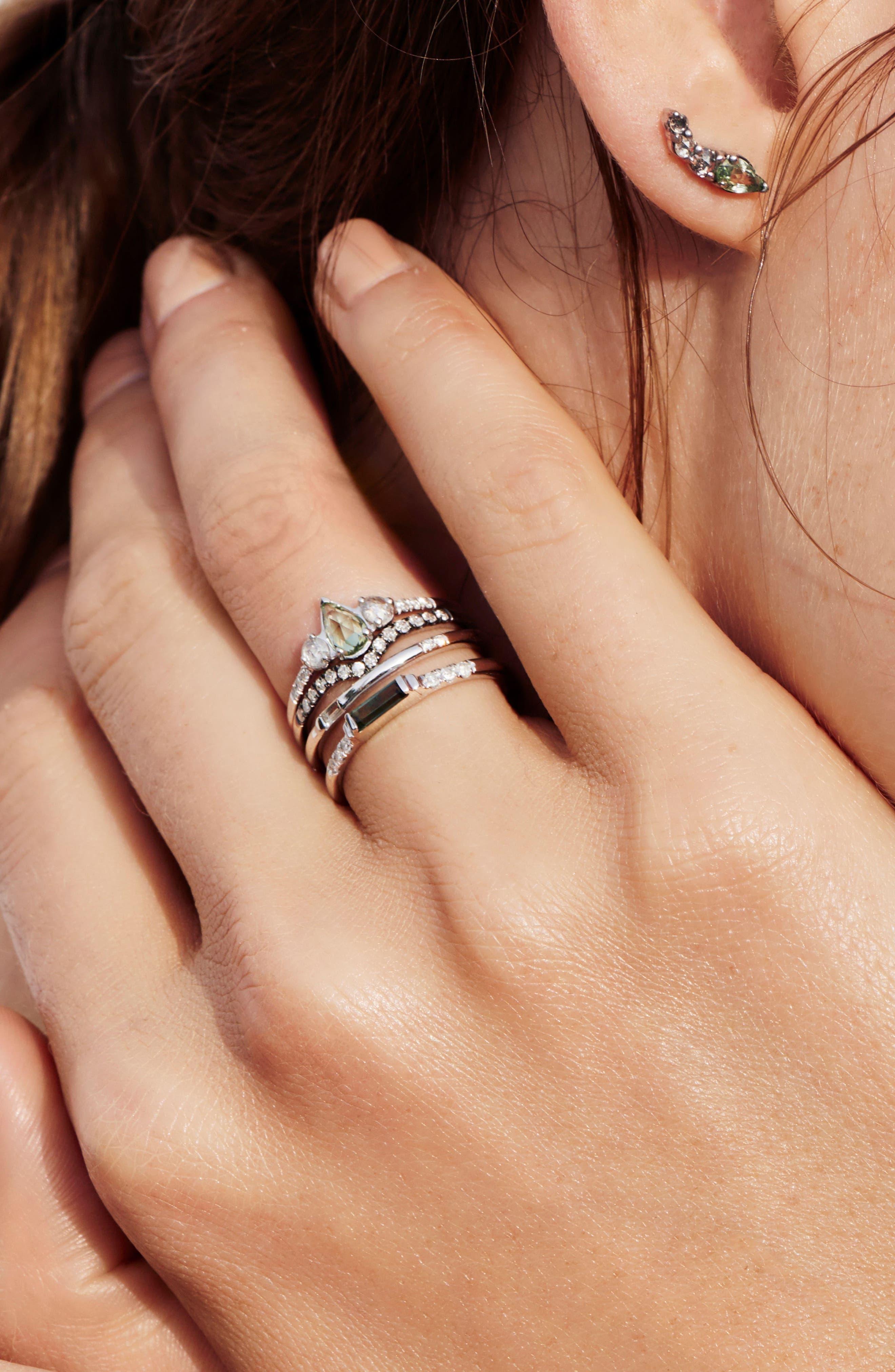 Radiance Sapphire & Diamond Ring,                             Alternate thumbnail 3, color,                             Yellow Gold/ Green Sapphire