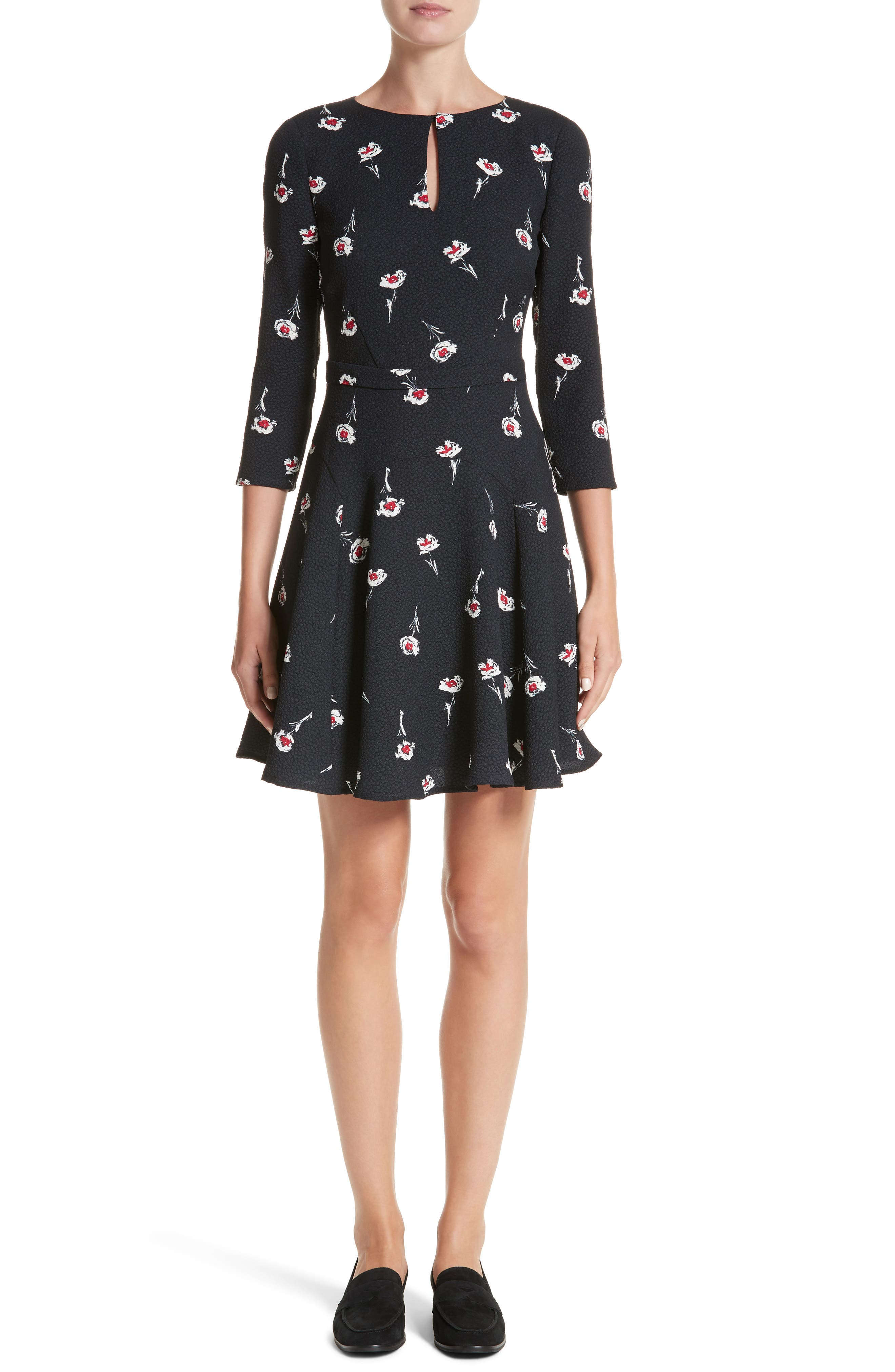 Floral Print Fit & Flare Dress,                             Main thumbnail 1, color,                             Floral