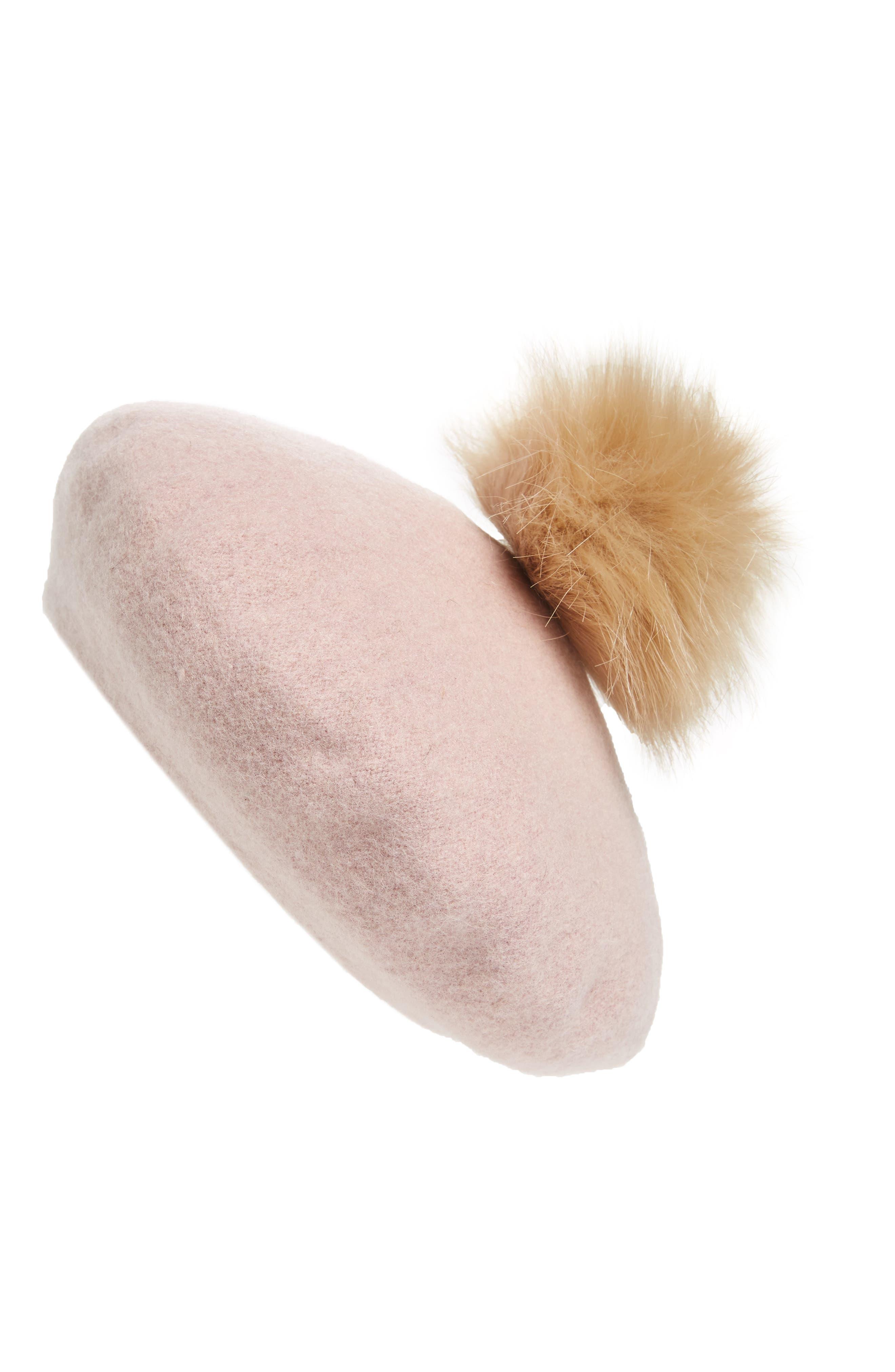 NYC Underground Faux Fur Pompom Beret