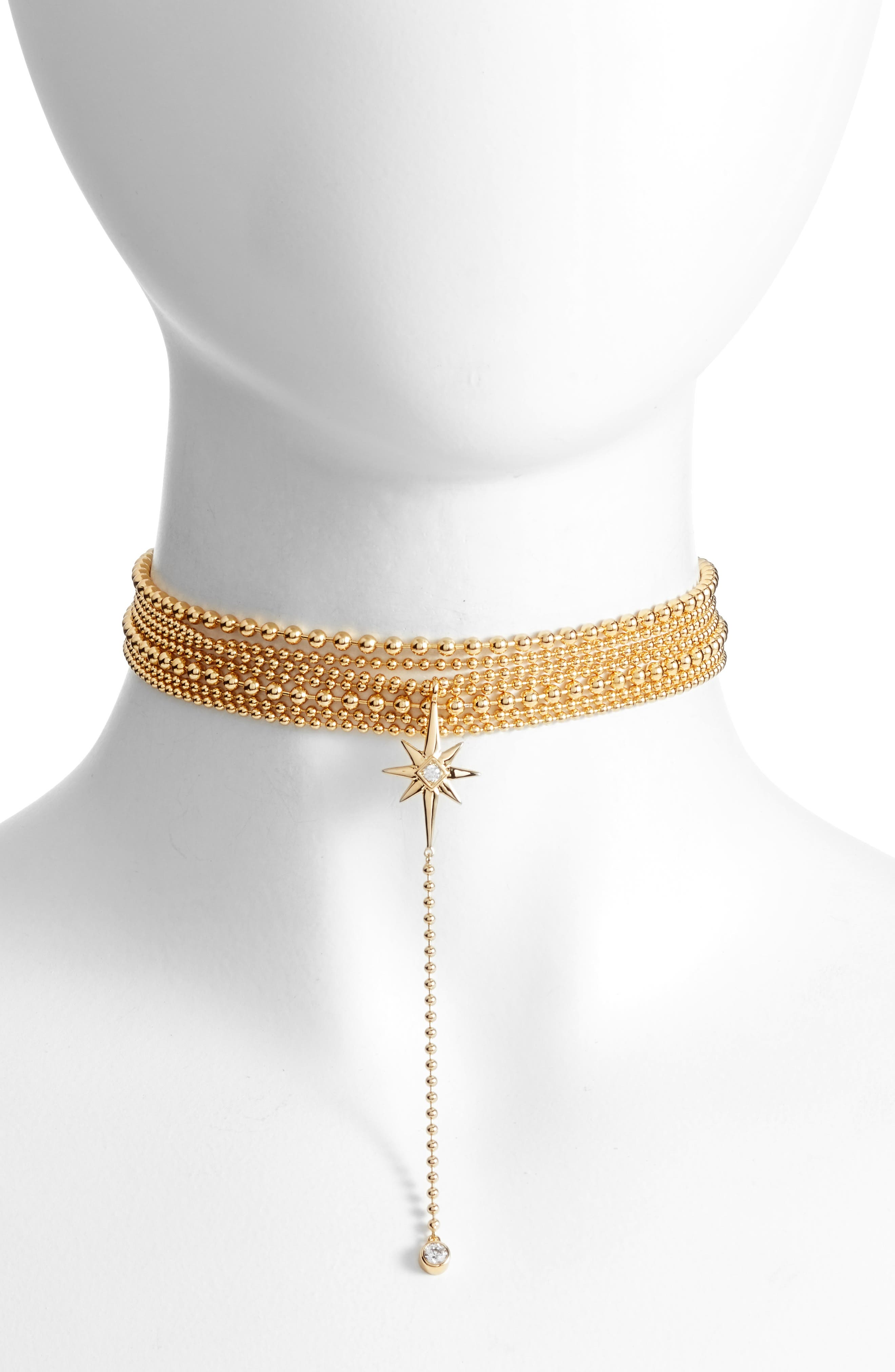 Elysian Choker Necklace,                         Main,                         color, Gold