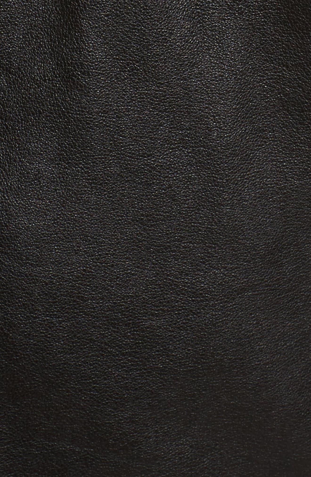 Alternate Image 5  - Caslon® Leather Moto Jacket (Regular & Petite)