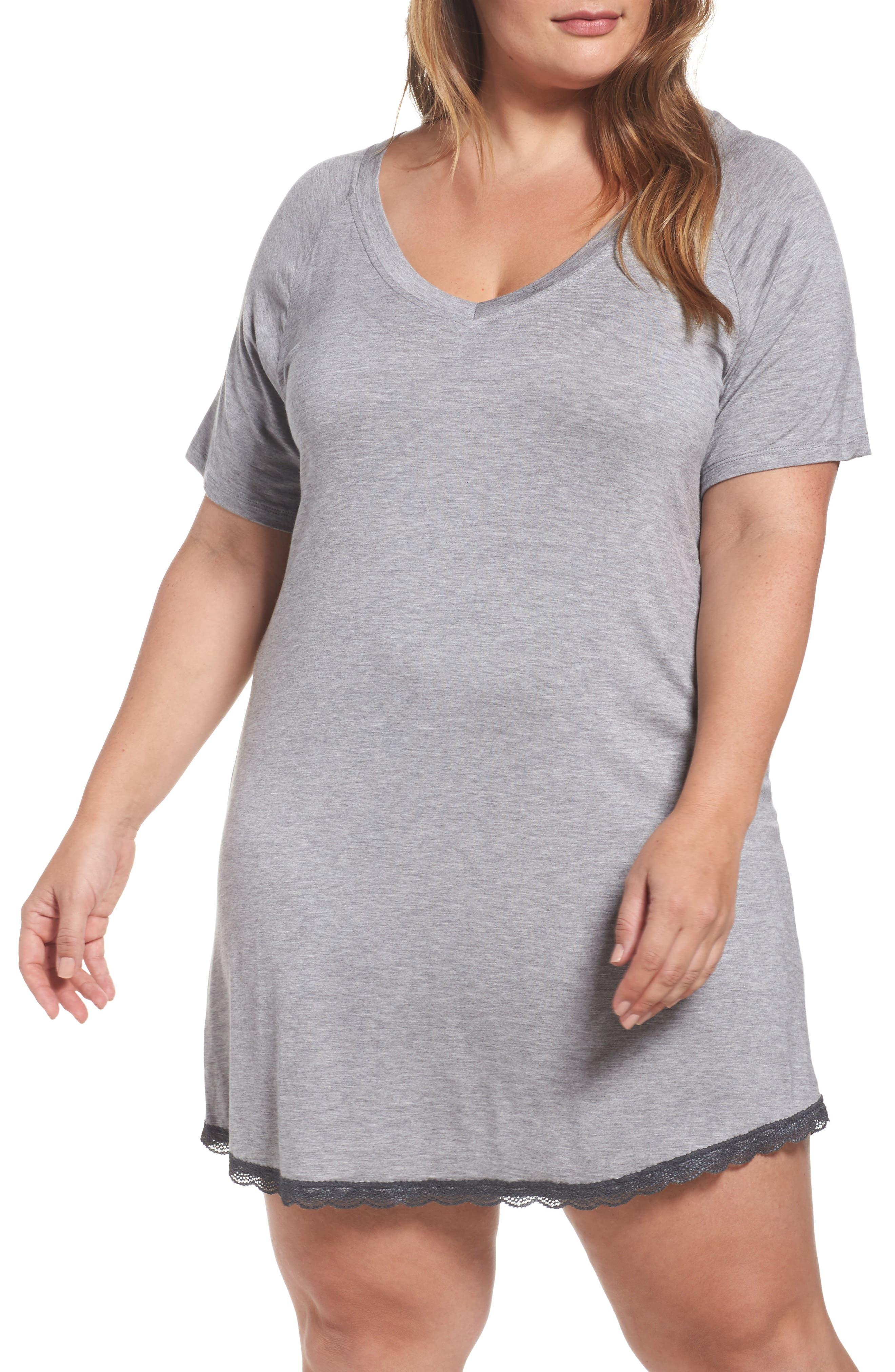 Honeydew Lace Trim Sleep Shirt,                         Main,                         color, Heather Grey