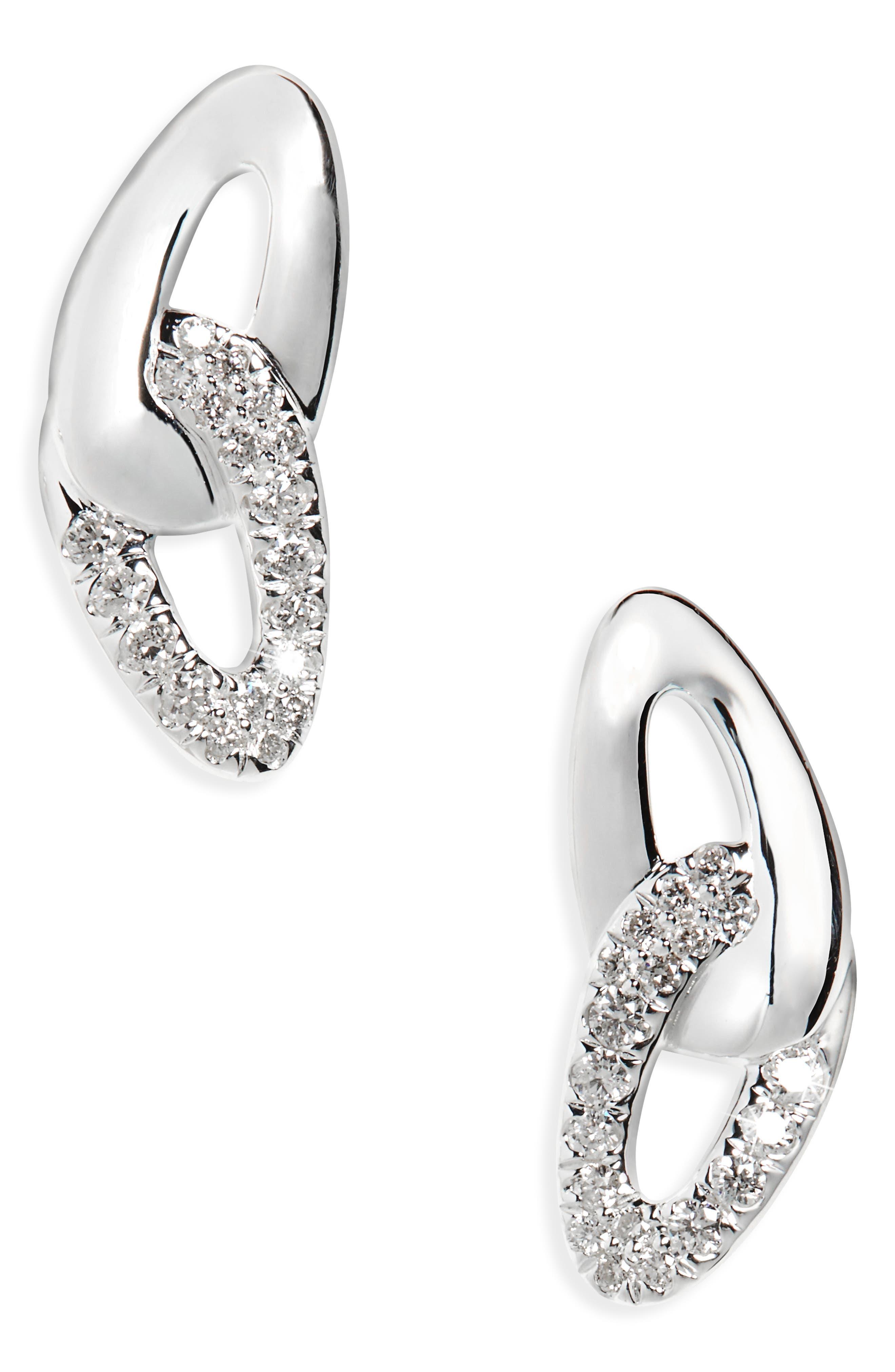 Cherish Link Diamond Stud Earrings,                         Main,                         color, Silver