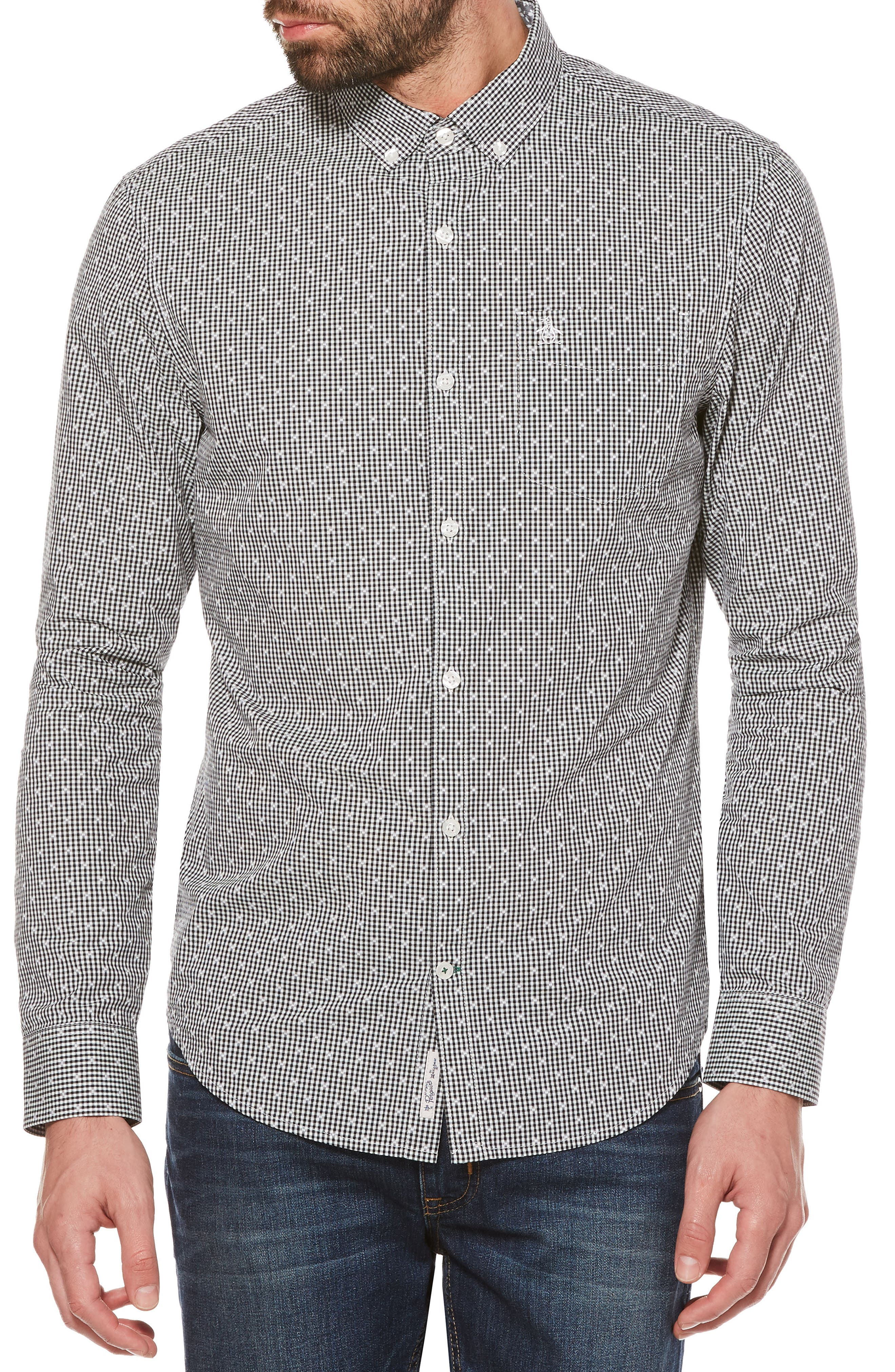 Dobby Gingham Sport Shirt,                         Main,                         color, True Black