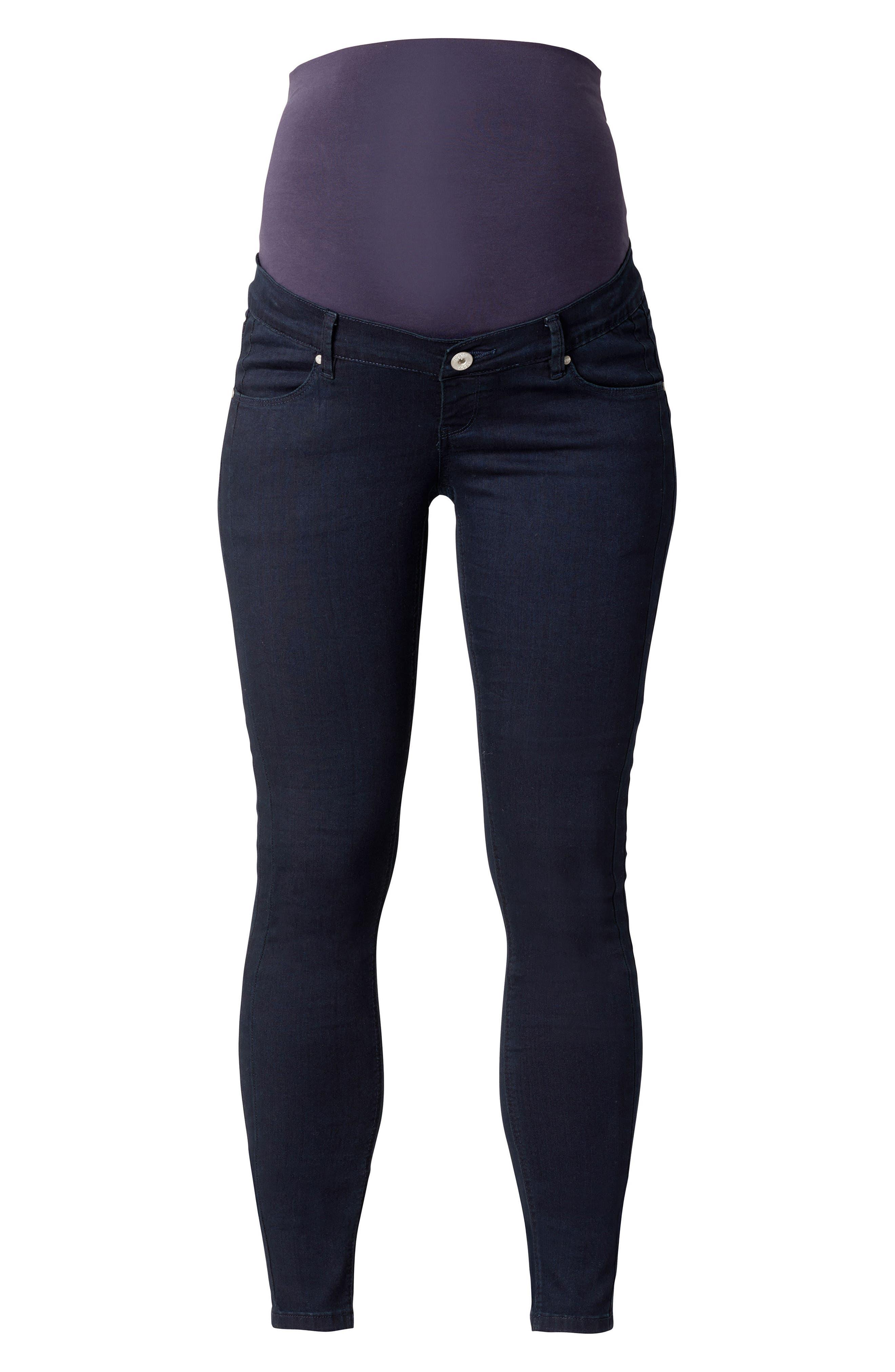 Avi Over the Belly Maternity Skinny Jeans,                         Main,                         color, Dark Blue